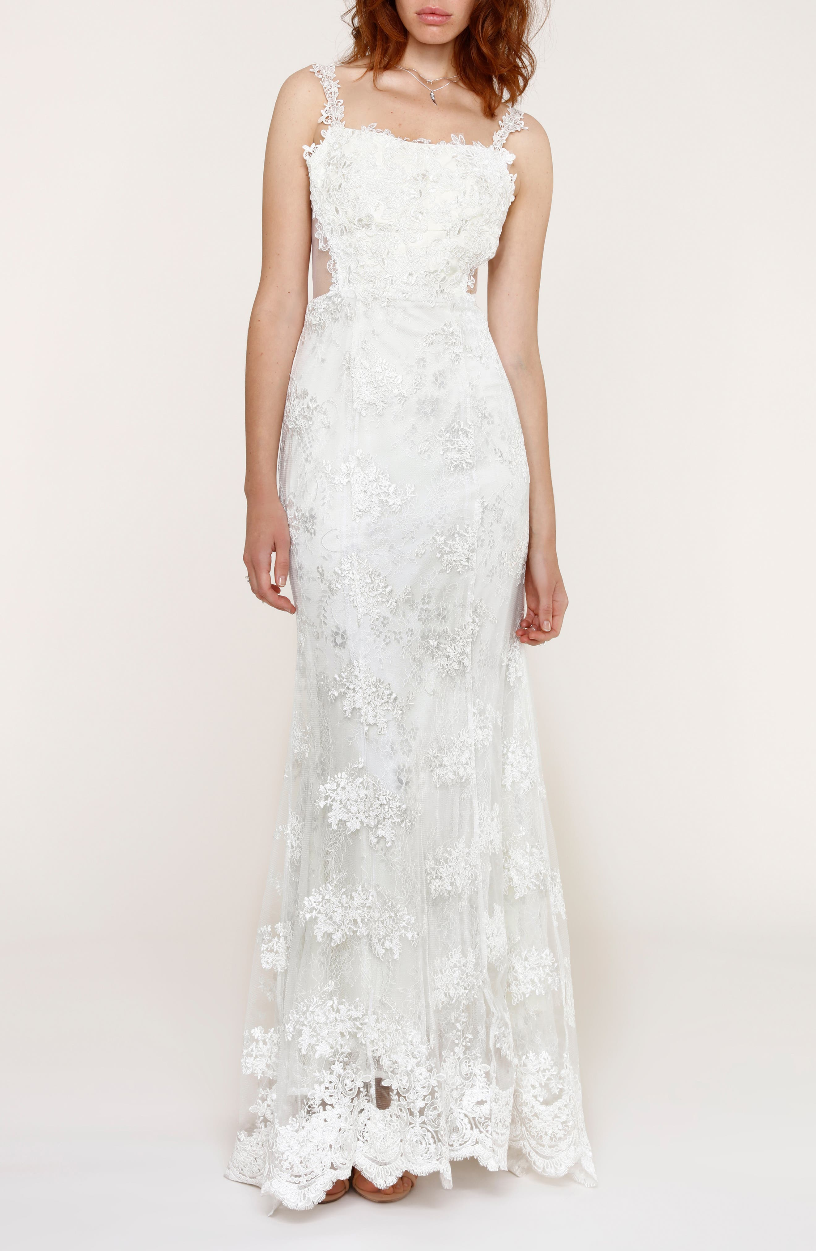 Andie Illusion Side Lace Mermaid Gown,                             Main thumbnail 1, color,                             900
