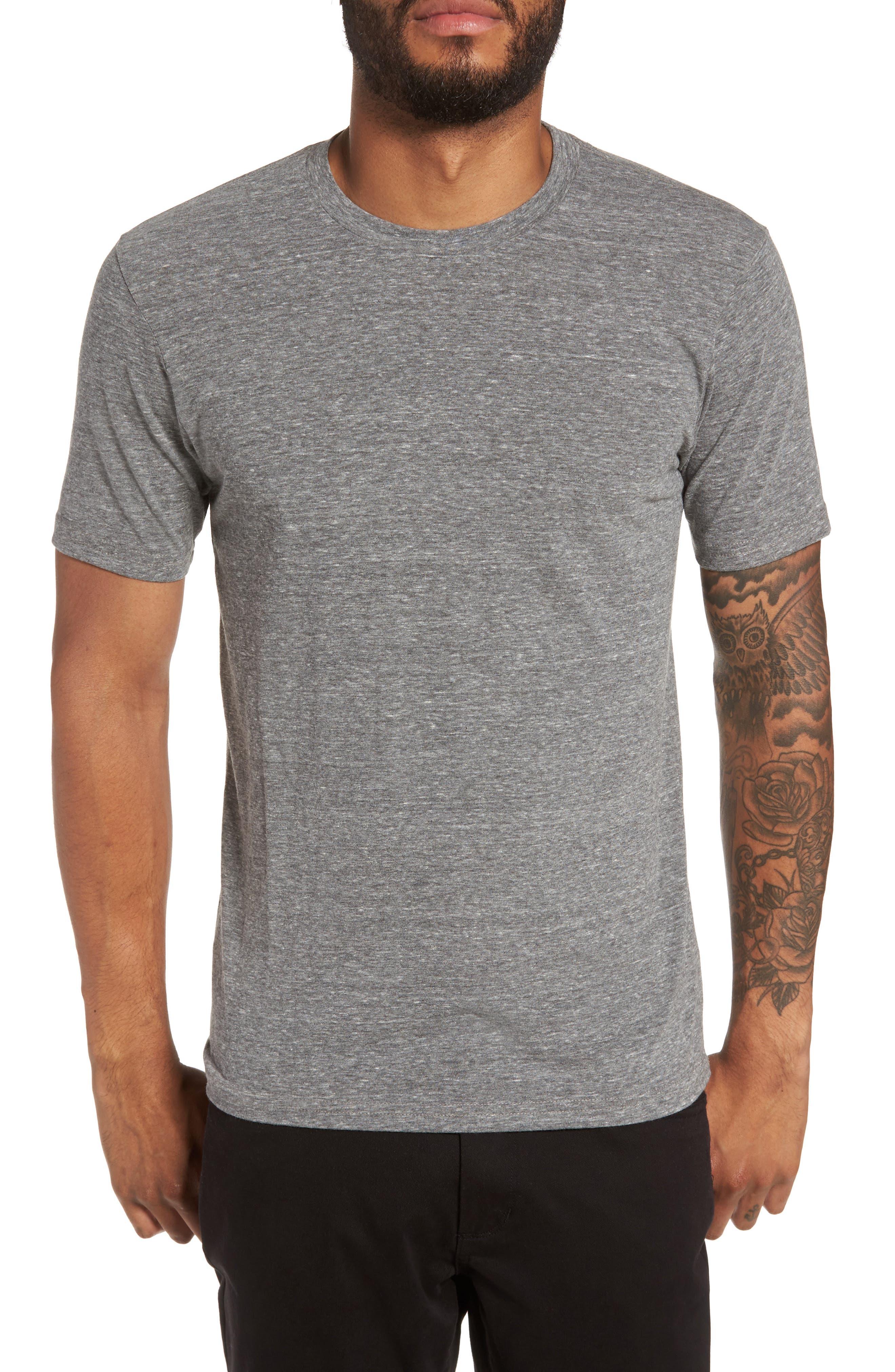 Supima Cotton Blend Crewneck T-Shirt,                         Main,                         color, HEATHER GREY