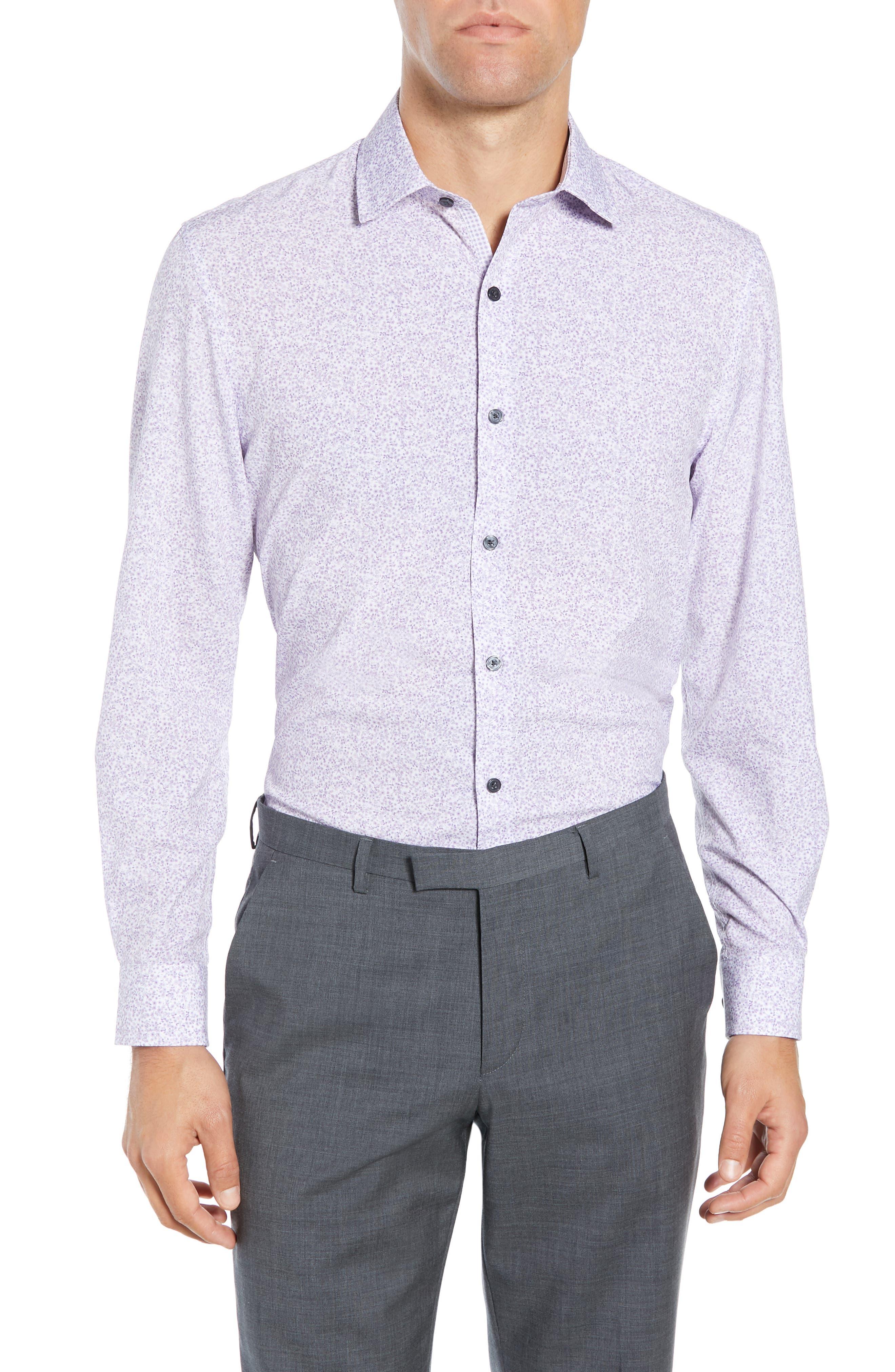 Trim Fit Stretch Floral Dress Shirt, Main, color, LILAC