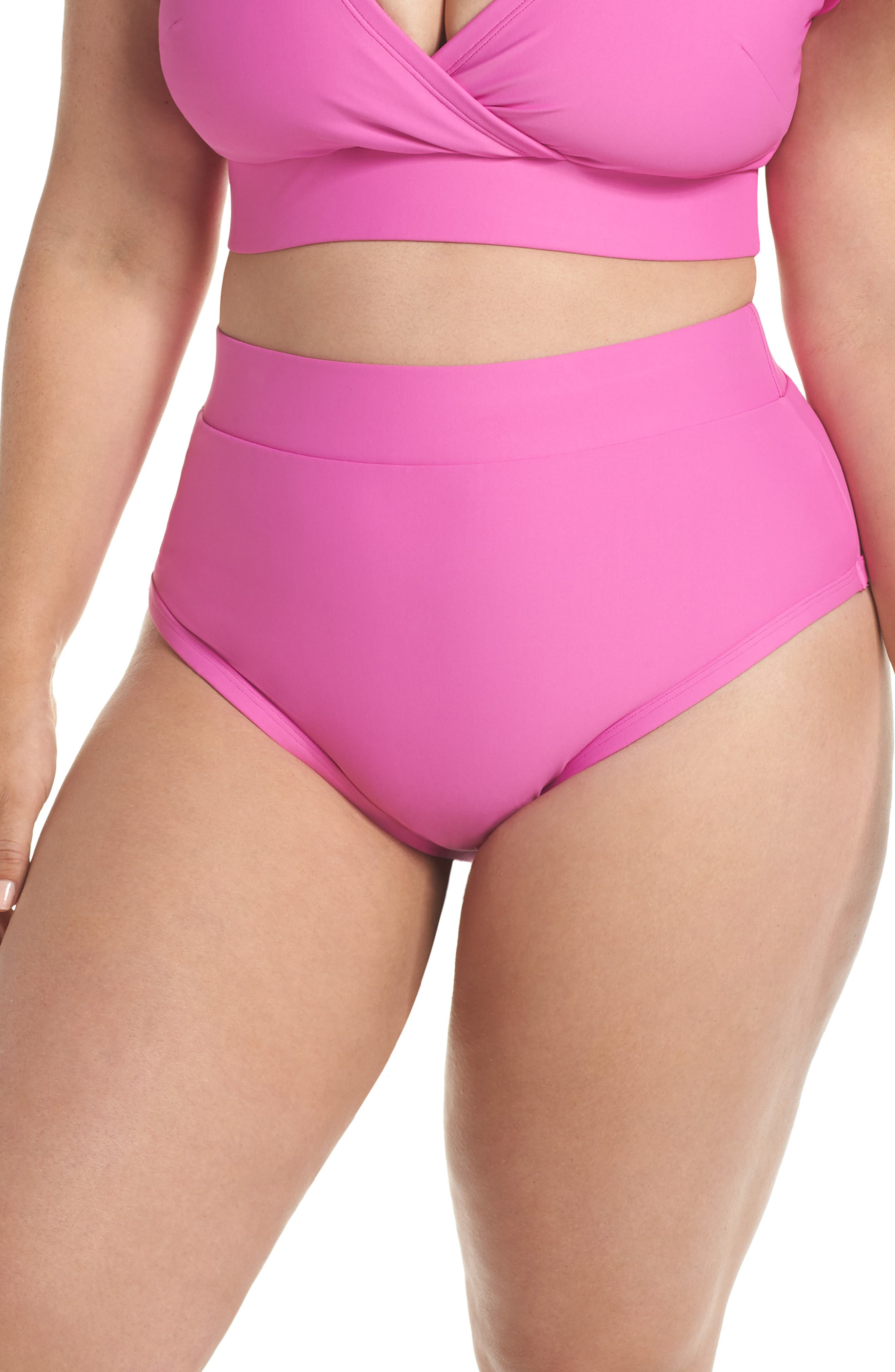 Plus Size Alpine Butterfly Lover High Waist Bikini Bottoms, Pink