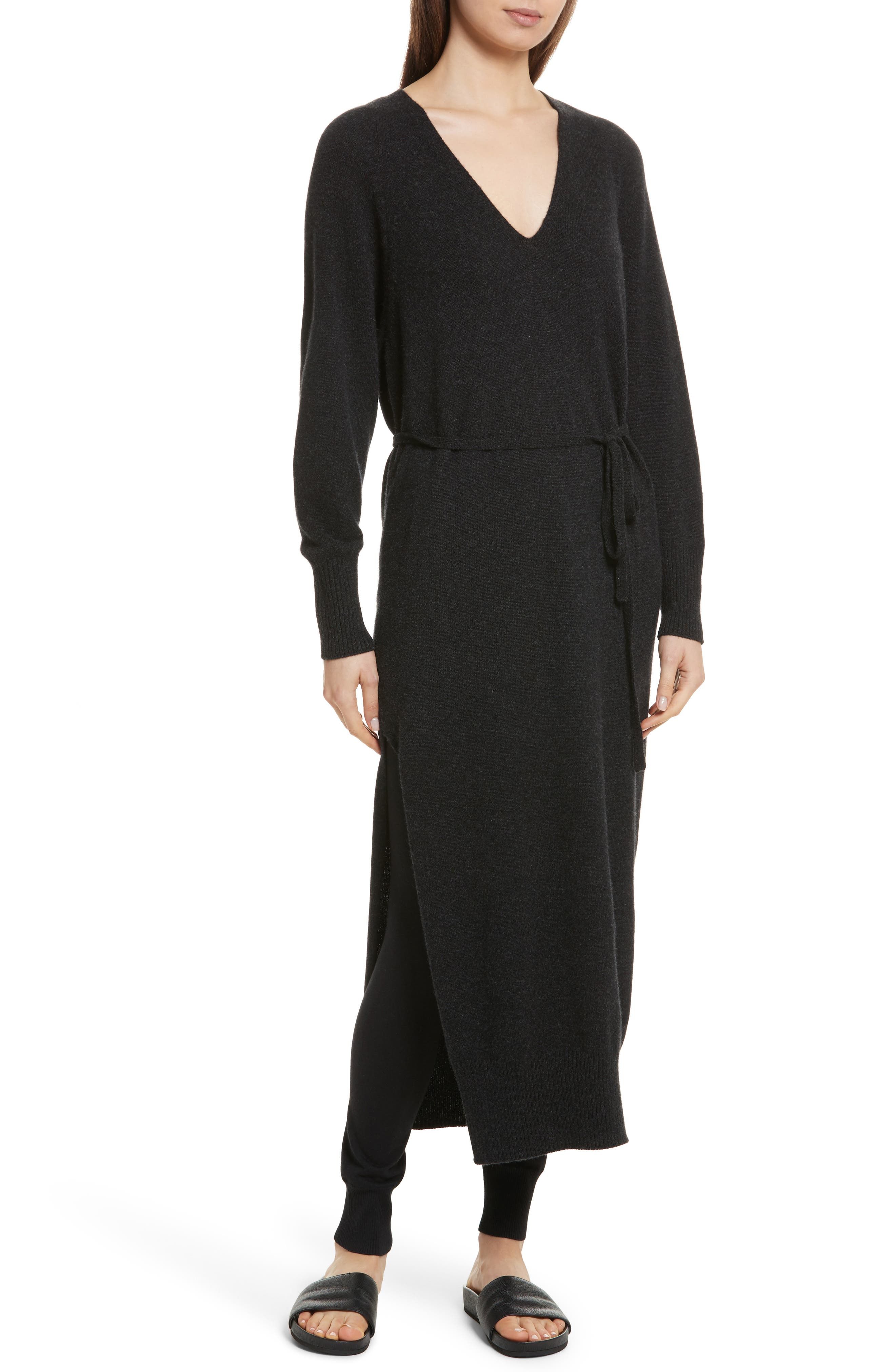 Wool & Cashmere Side Slit Maxi Dress,                             Main thumbnail 1, color,                             064