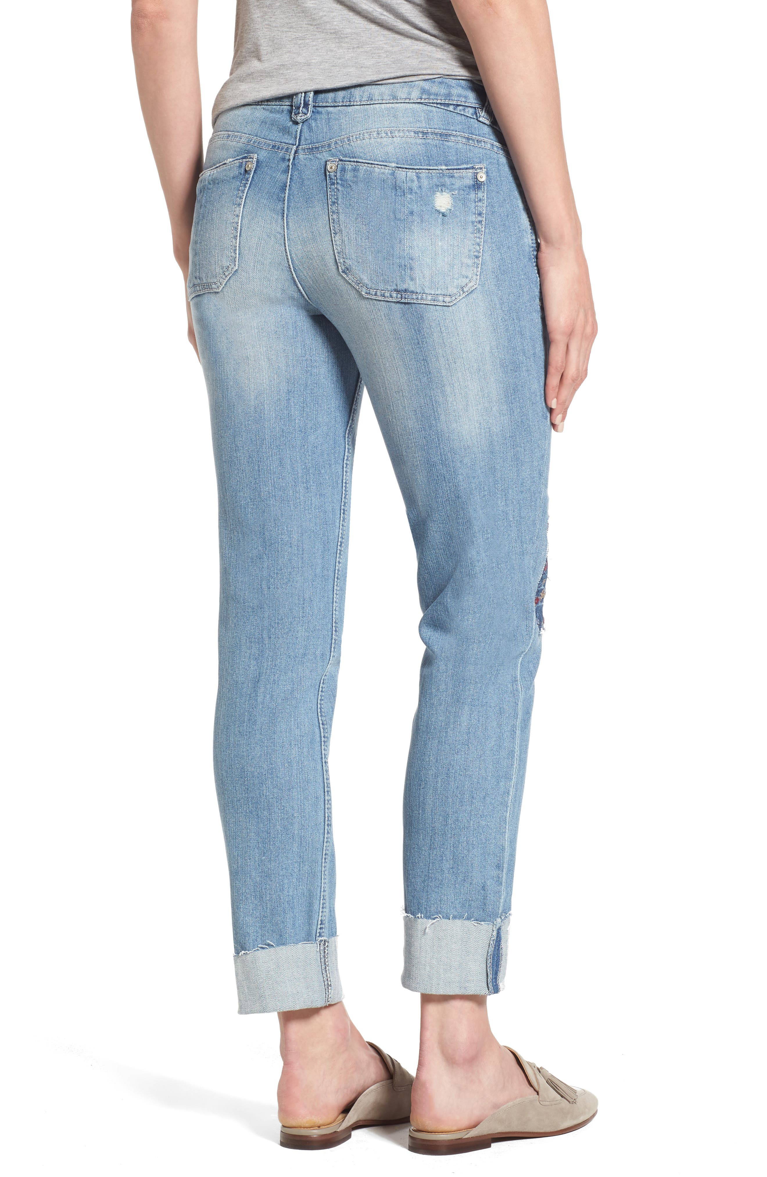 Ripped Girlfriend Jeans,                             Alternate thumbnail 2, color,