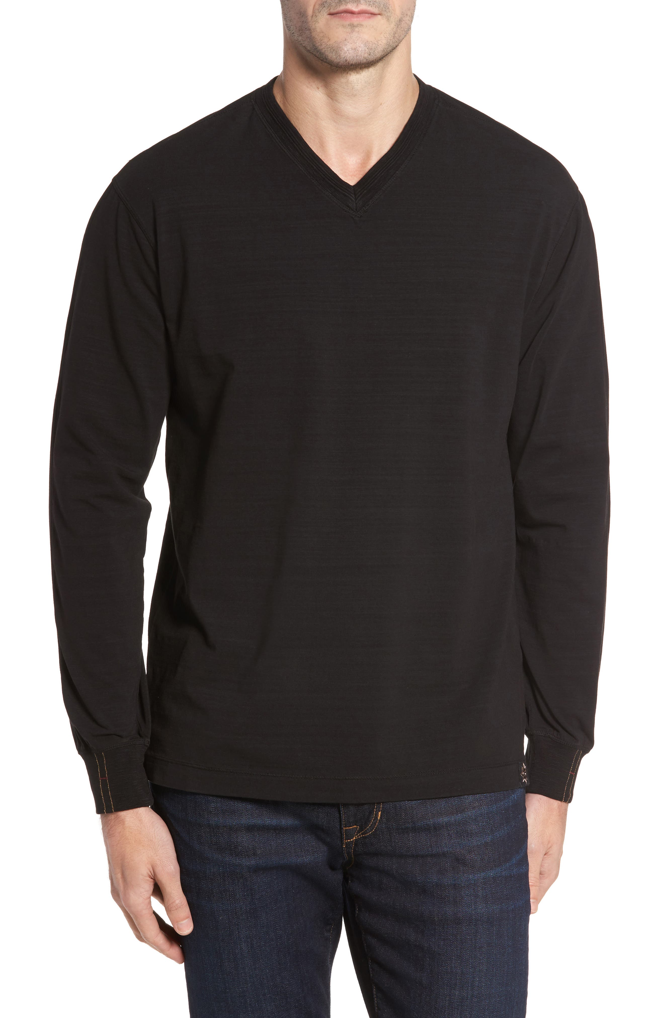 Vinn Slubbed Long Sleeve V-Neck T-Shirt,                         Main,                         color, 001
