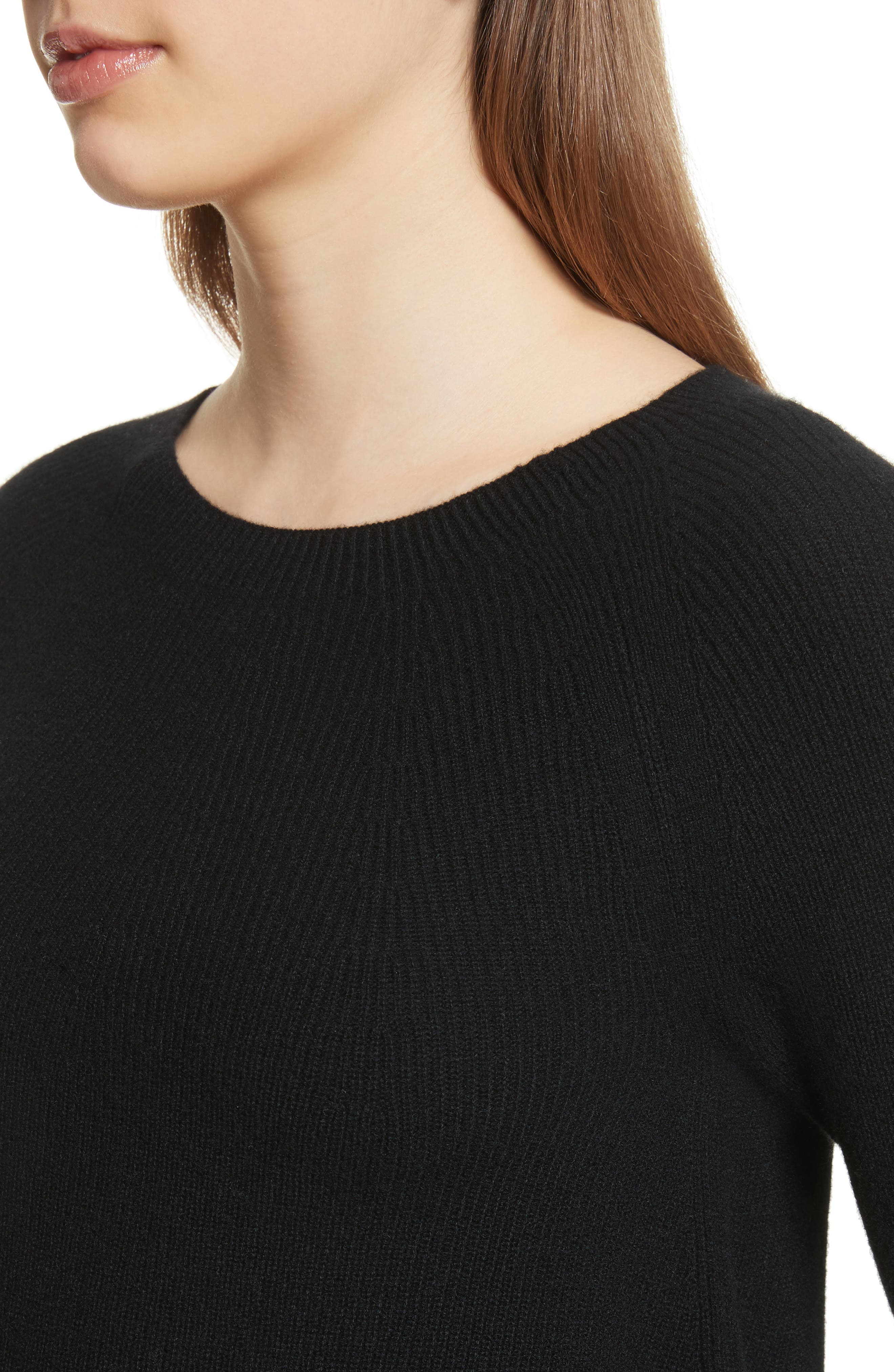Ribbed Cashmere Sweater,                             Alternate thumbnail 4, color,                             001