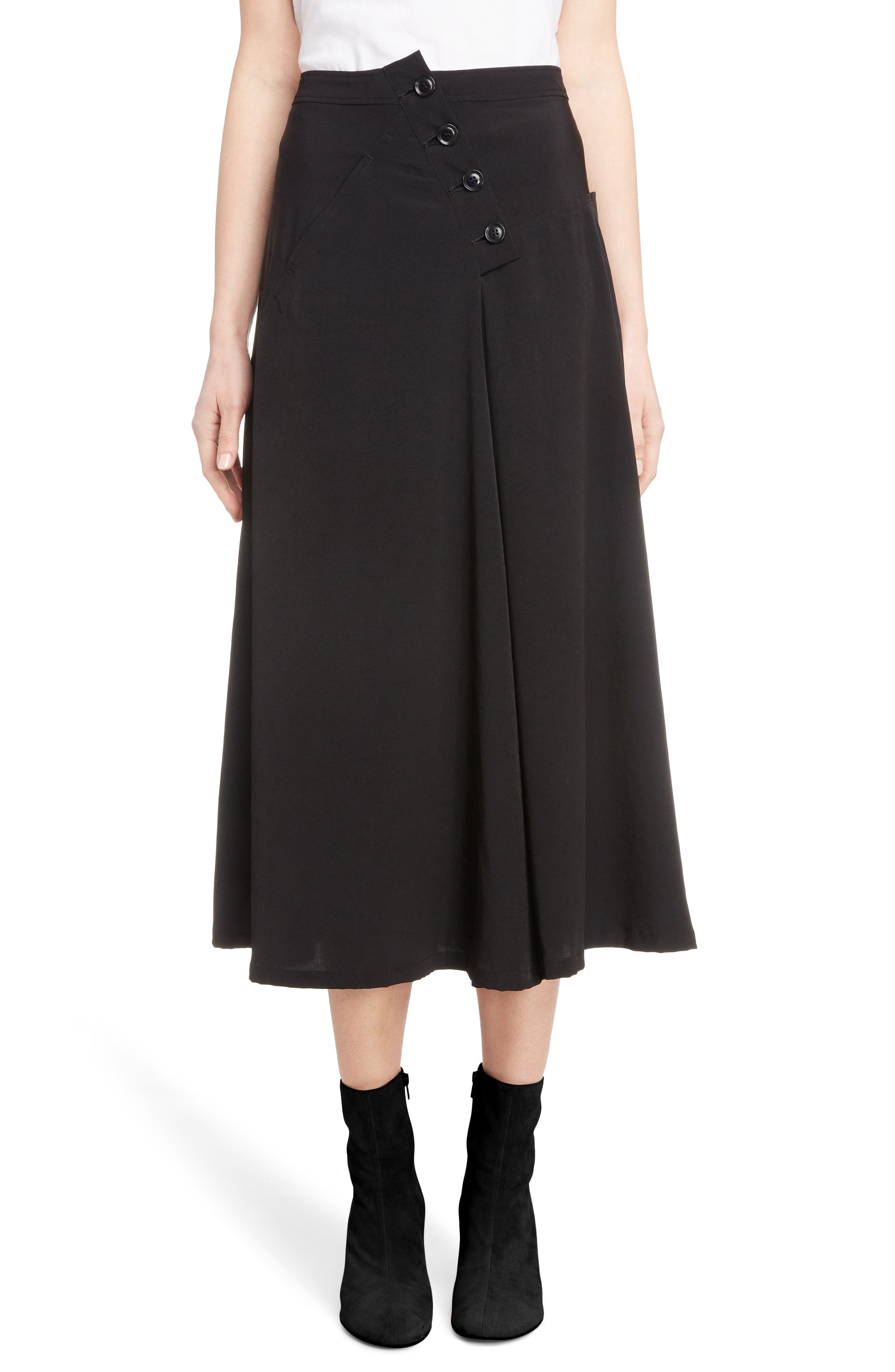 Y's BUTTON DETAIL A-LINE SKIRT