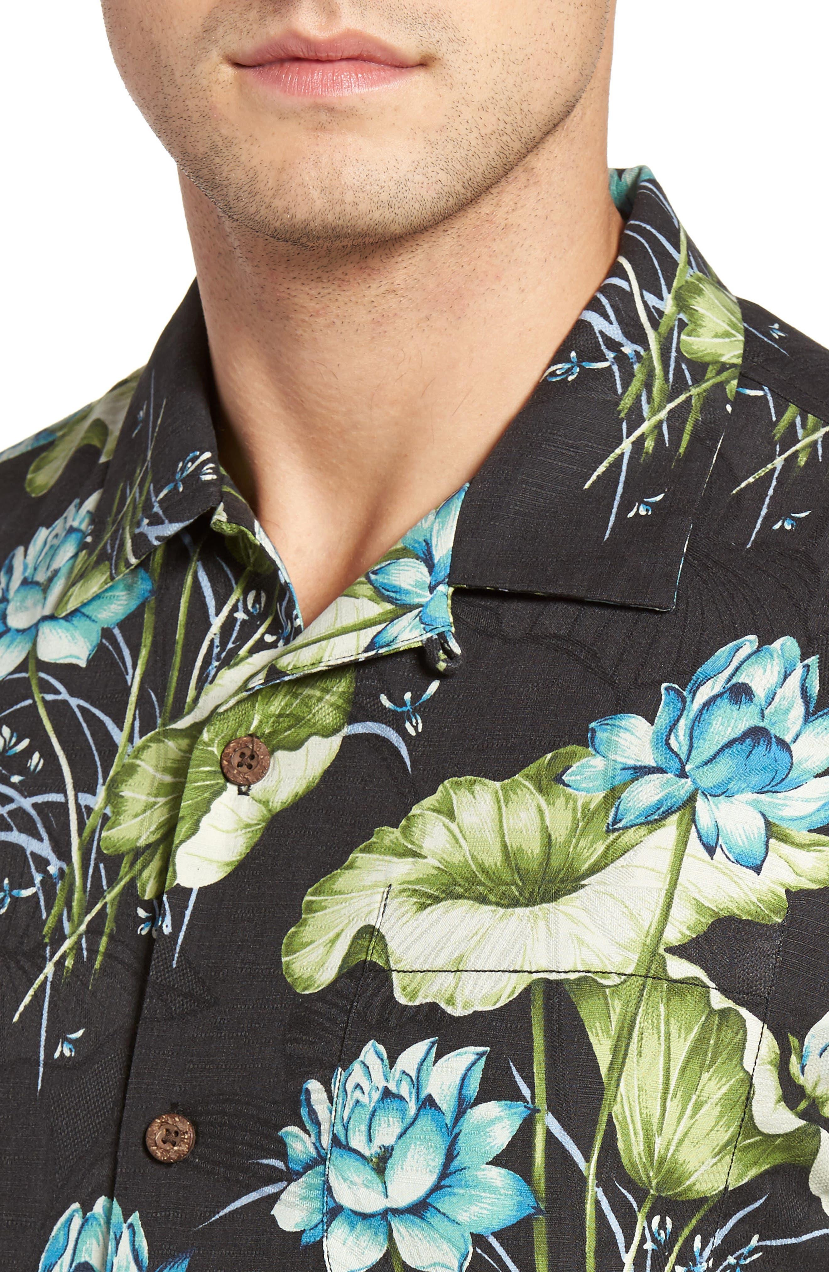 Adriatic Garden Silk Blend Camp Shirt,                             Alternate thumbnail 4, color,                             021