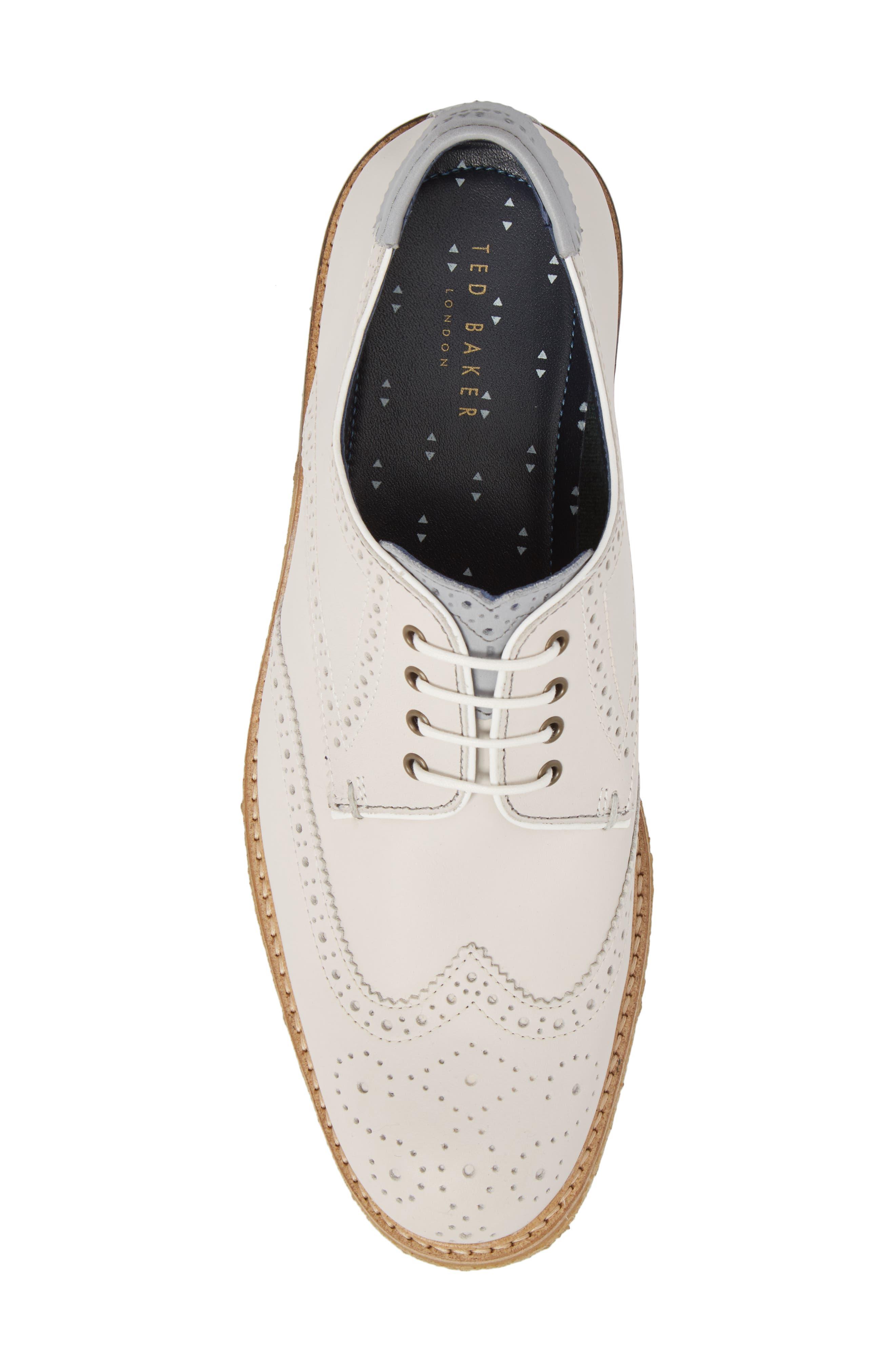 Prycce Wingtip Derby,                             Alternate thumbnail 5, color,                             WHITE SUEDE