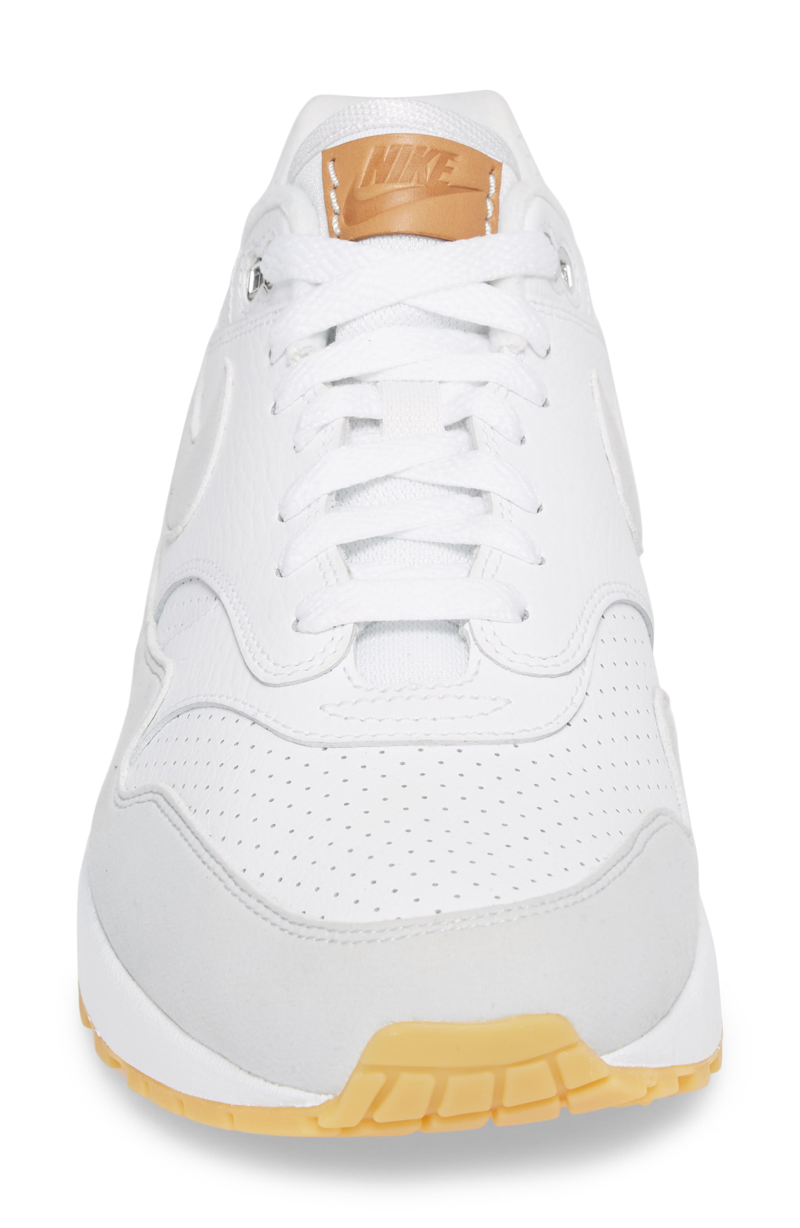 Air Max 1 Sneaker,                             Alternate thumbnail 4, color,                             WHITE/ PURE PLATINUM/ YELLOW