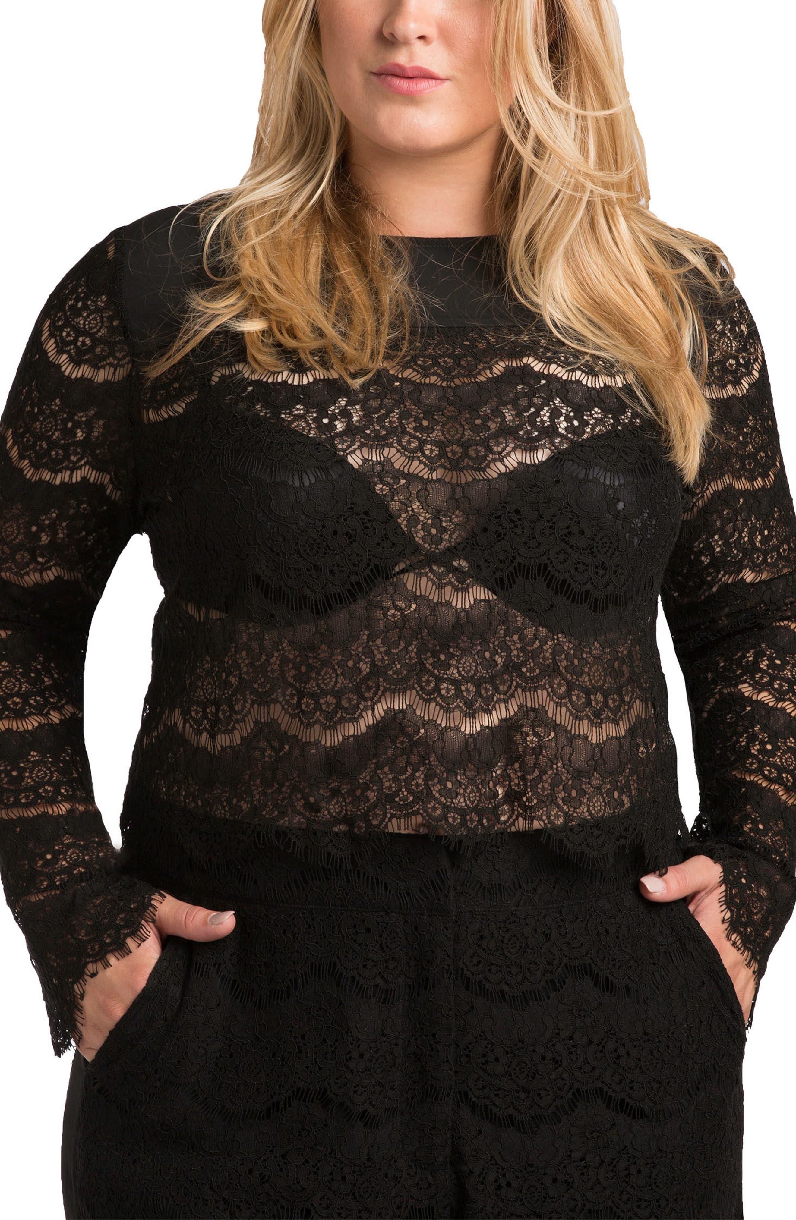 Sydney Lace Skimmer Top,                         Main,                         color, BLACK