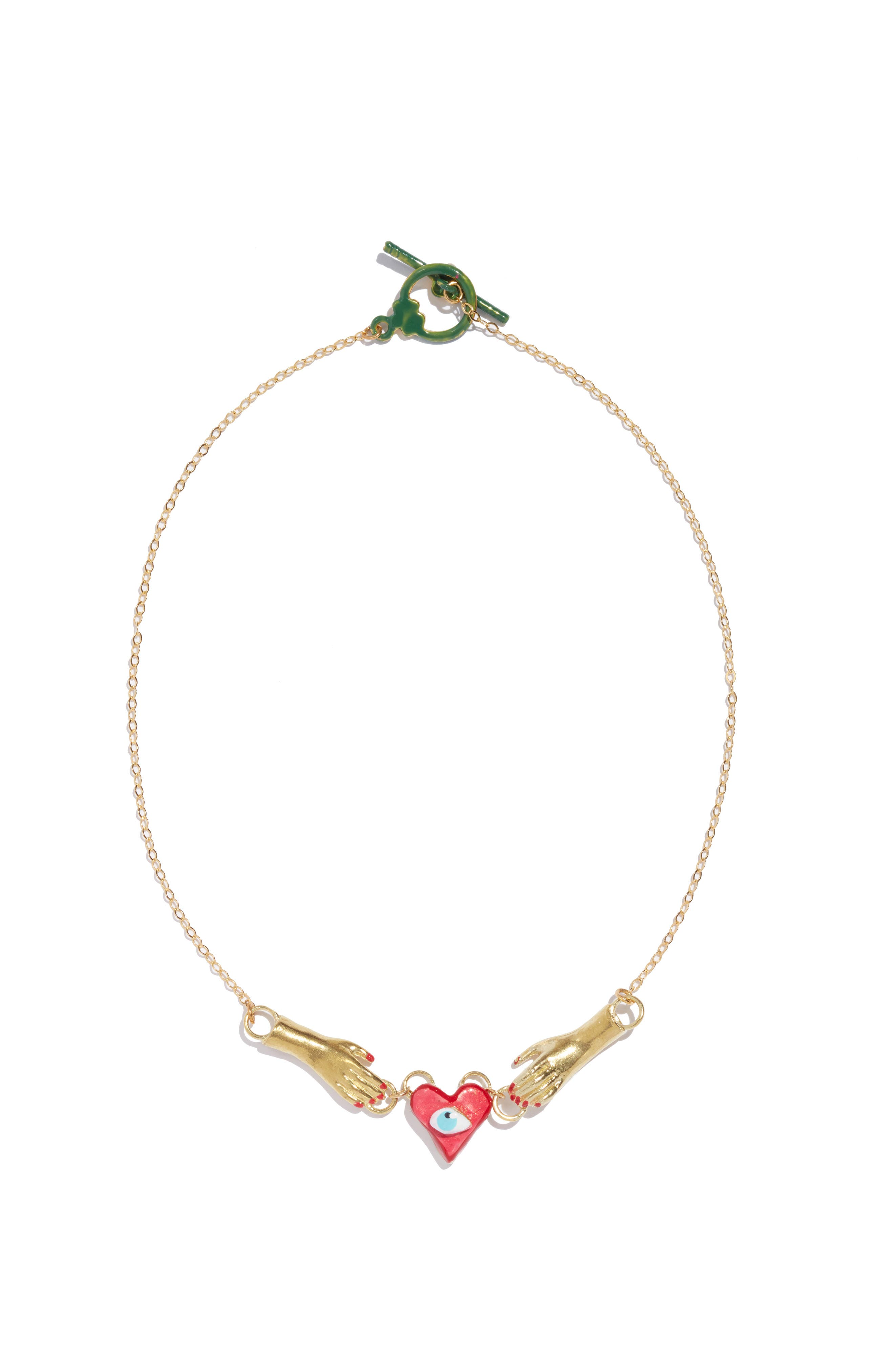 Sacred Heart Necklace,                         Main,                         color, GOLD/ RED