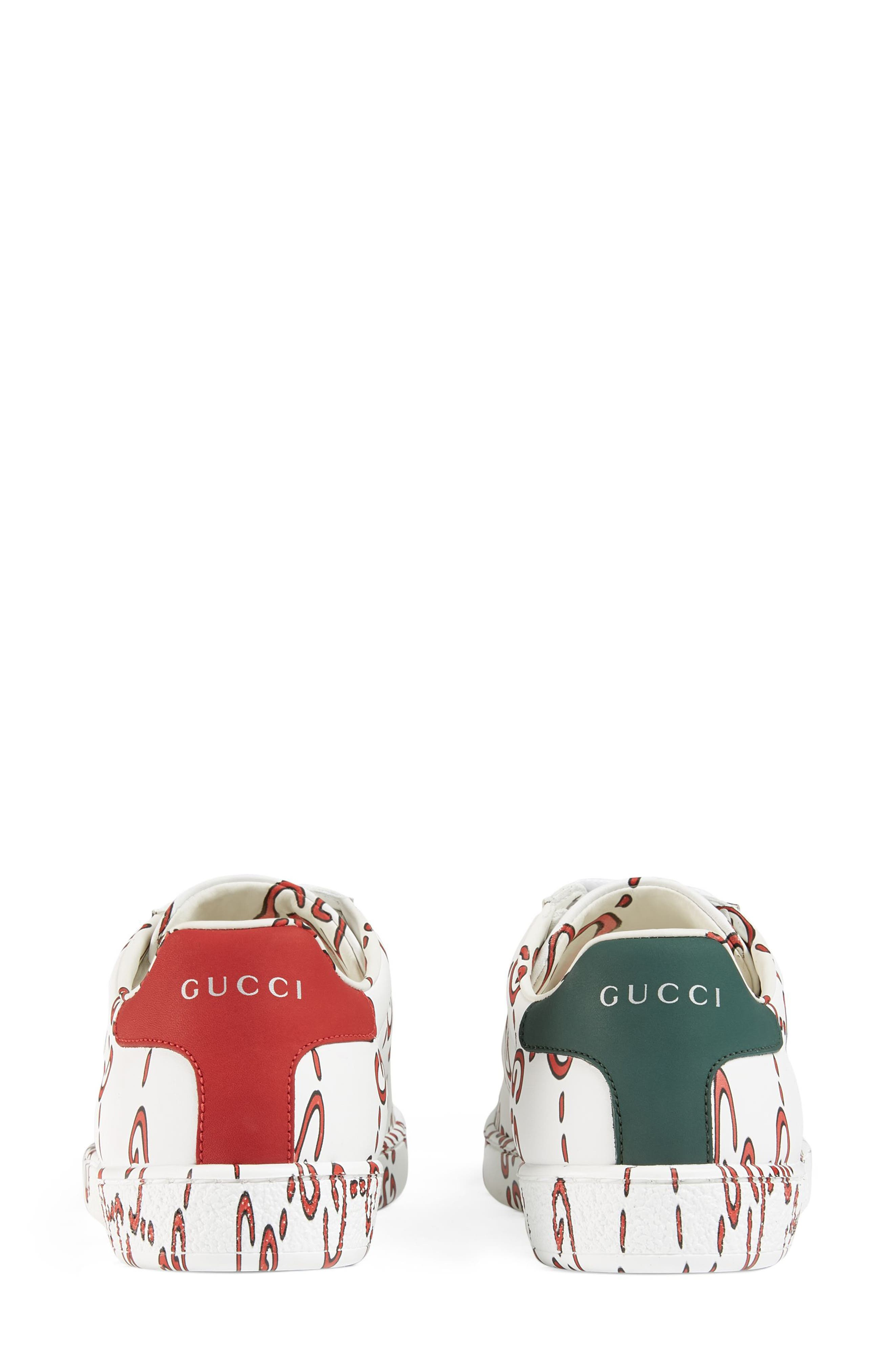 New Ace GG Supreme Logo Sneaker,                             Alternate thumbnail 4, color,                             WHITE/ HIBISCUS RED