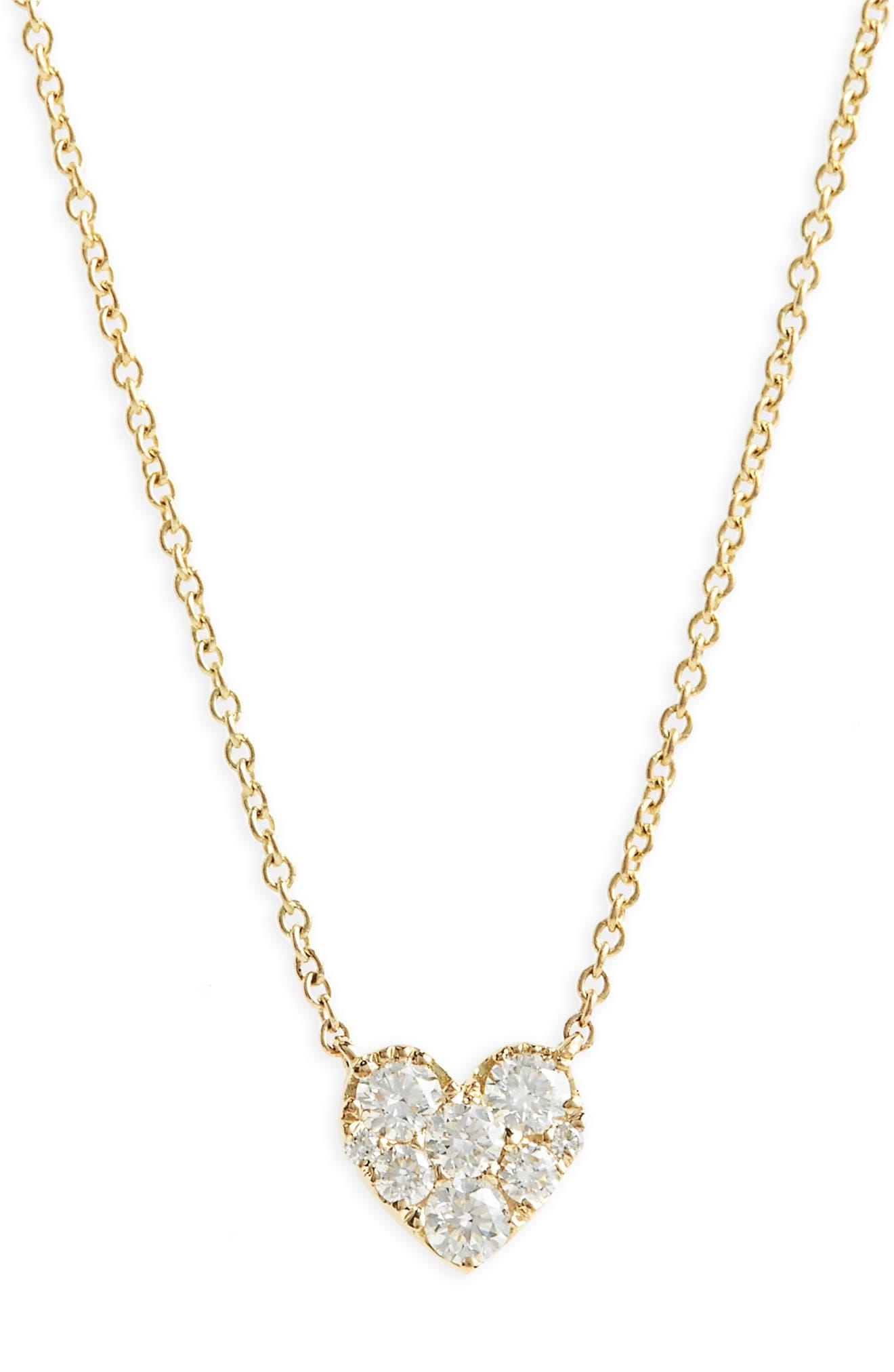 Heart Diamond Pendant Necklace,                         Main,                         color, YELLOW GOLD