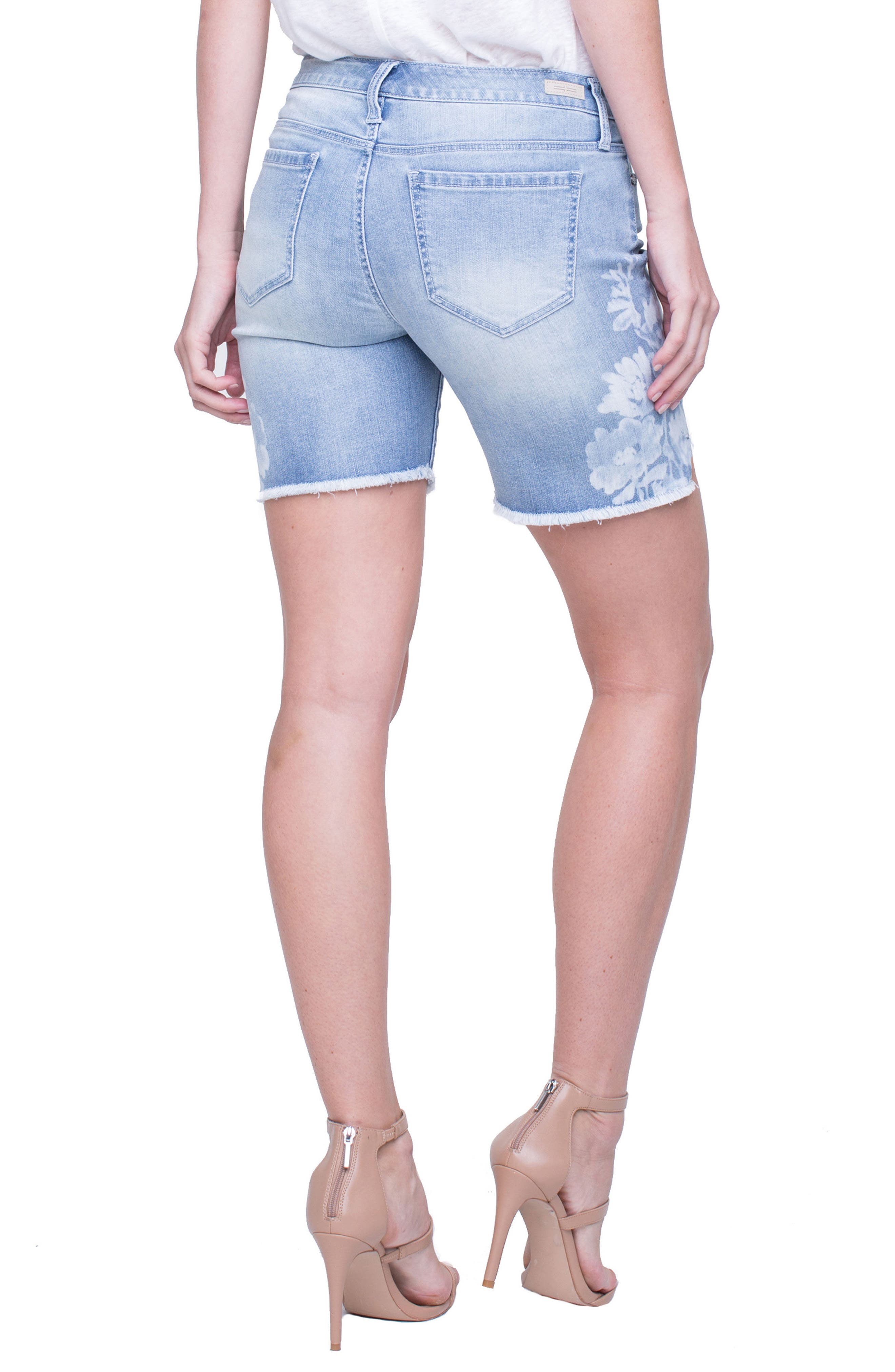 Corine Flower Frayed Denim Shorts,                             Alternate thumbnail 2, color,                             MANDALAY LIGHT