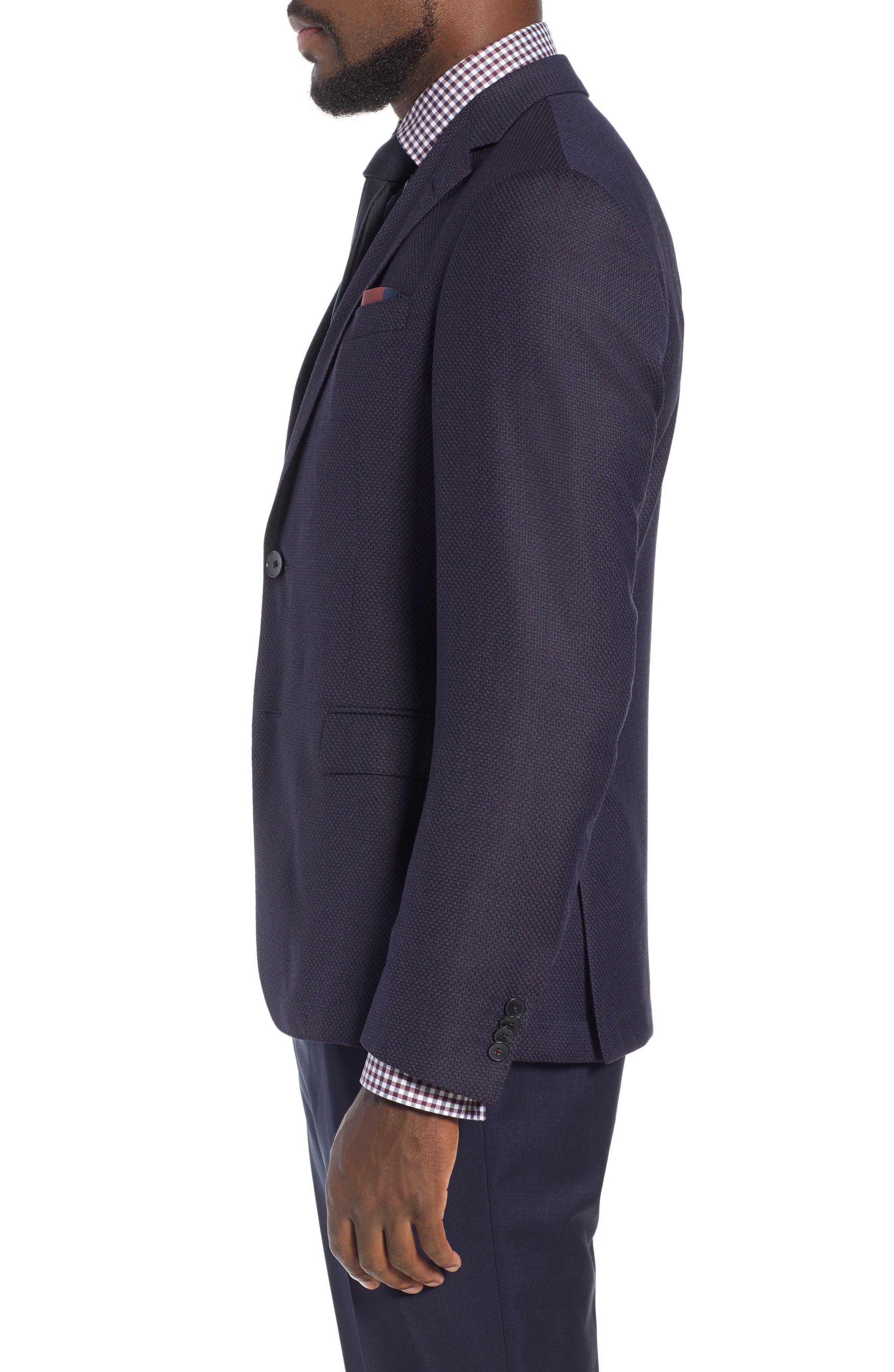x Nordstrom Nobis Trim Fit Wool Blazer,                             Alternate thumbnail 3, color,                             NAVY