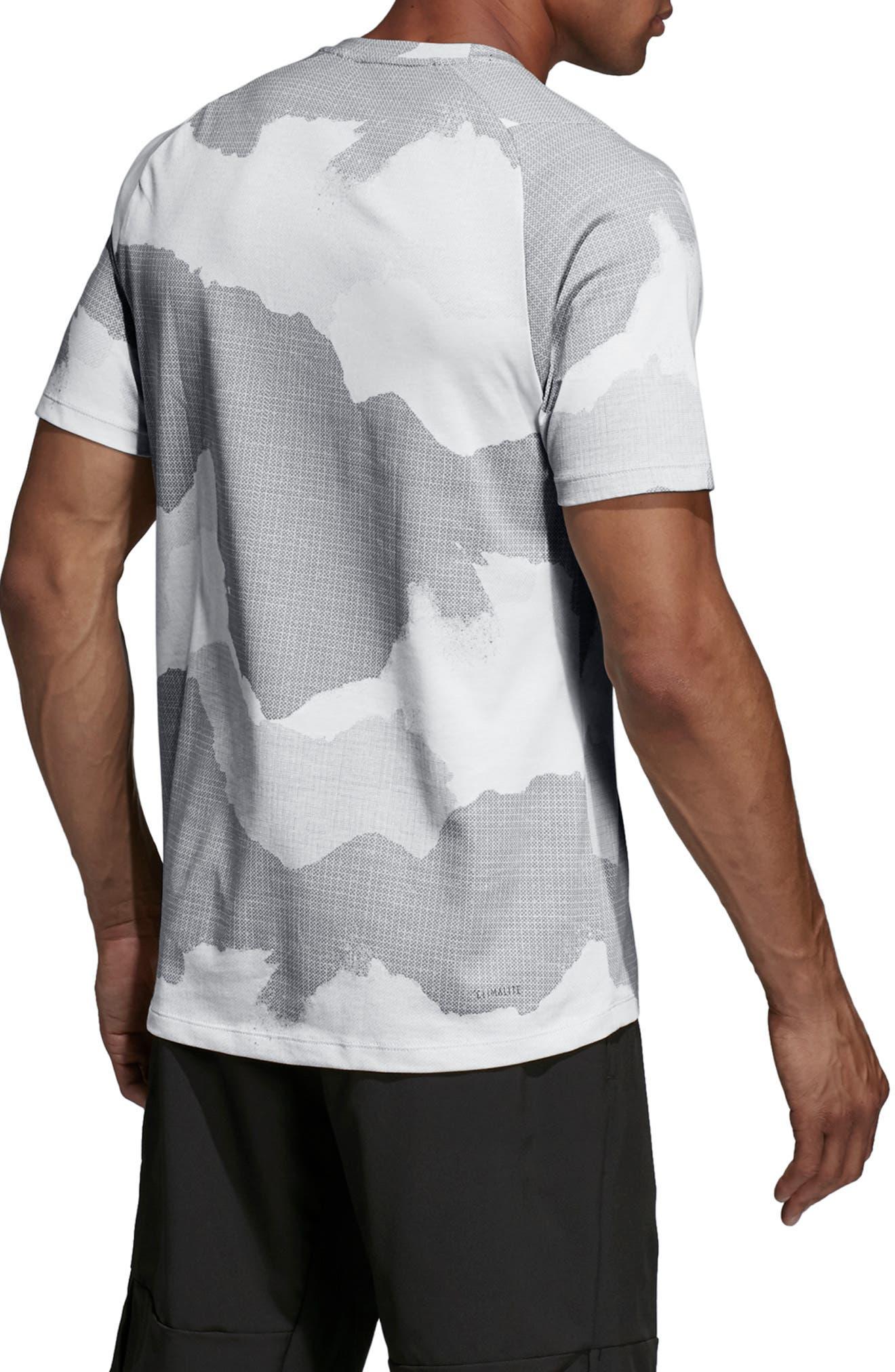ADIDAS,                             Tech Camo T-Shirt,                             Alternate thumbnail 2, color,                             RAW WHITE/ GREY