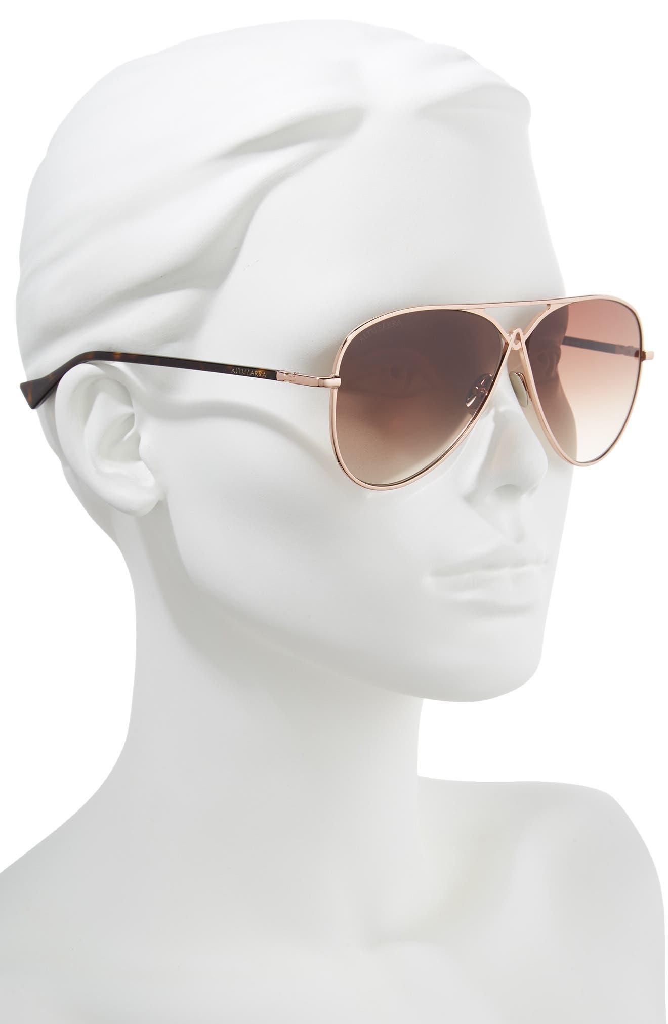 60mm Metal Aviator Sunglasses,                             Alternate thumbnail 2, color,                             ROSE GOLD