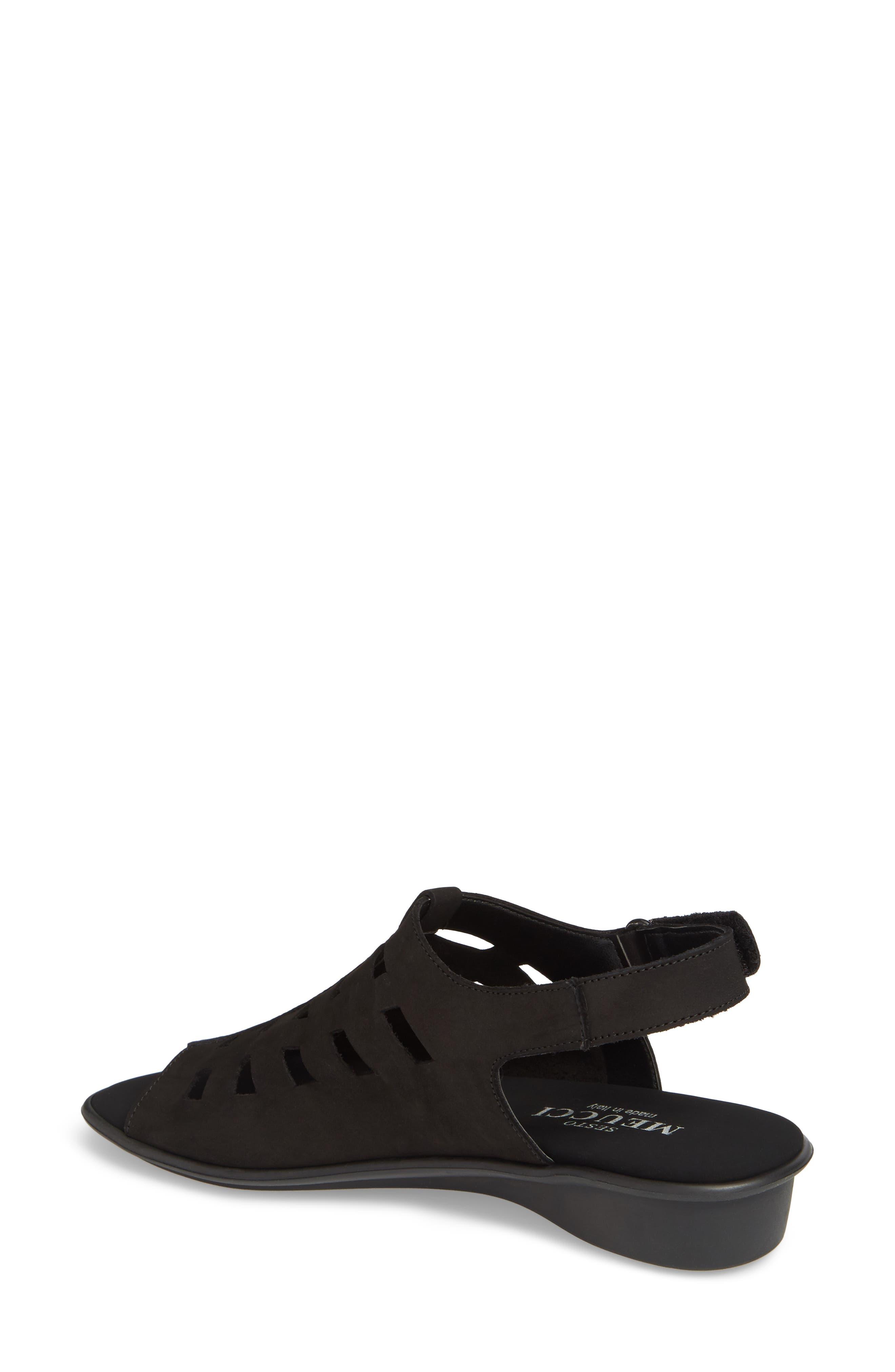 Elita Cutout Slingback Sandal,                             Alternate thumbnail 2, color,                             BLACK NUBUCK