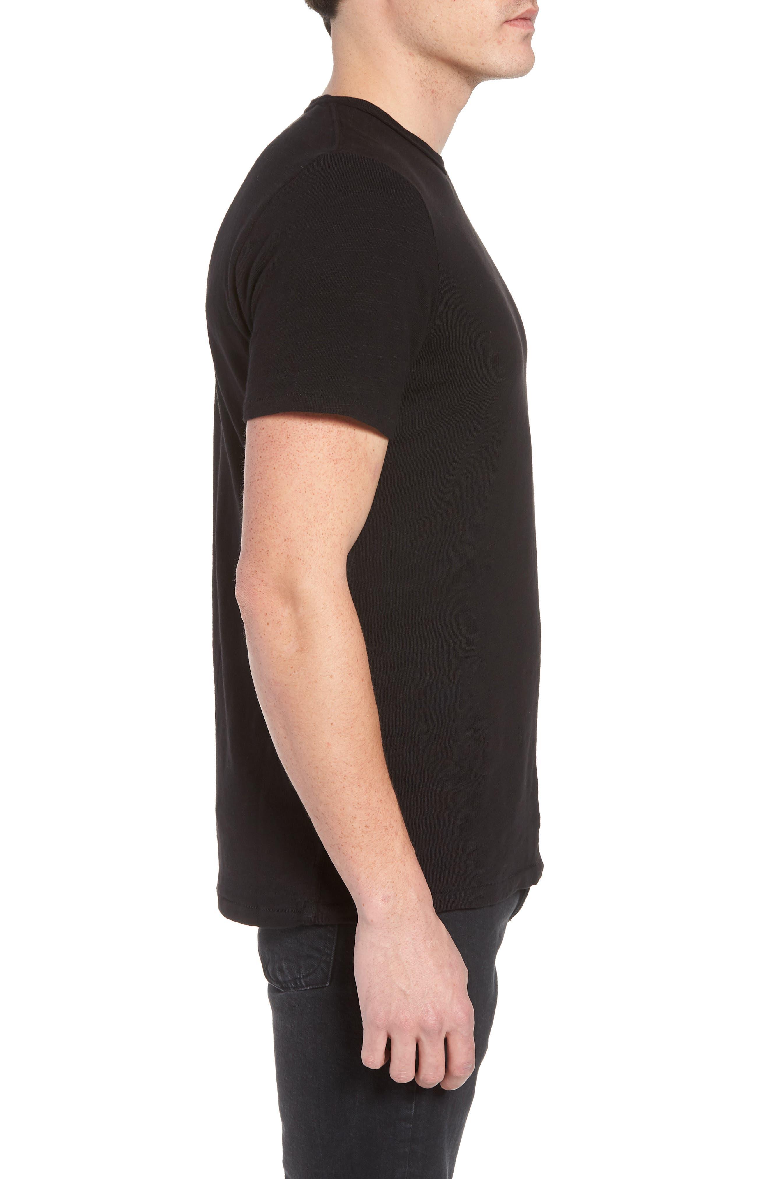 Classic Crewneck Cotton T-Shirt,                             Alternate thumbnail 3, color,                             JET BLACK