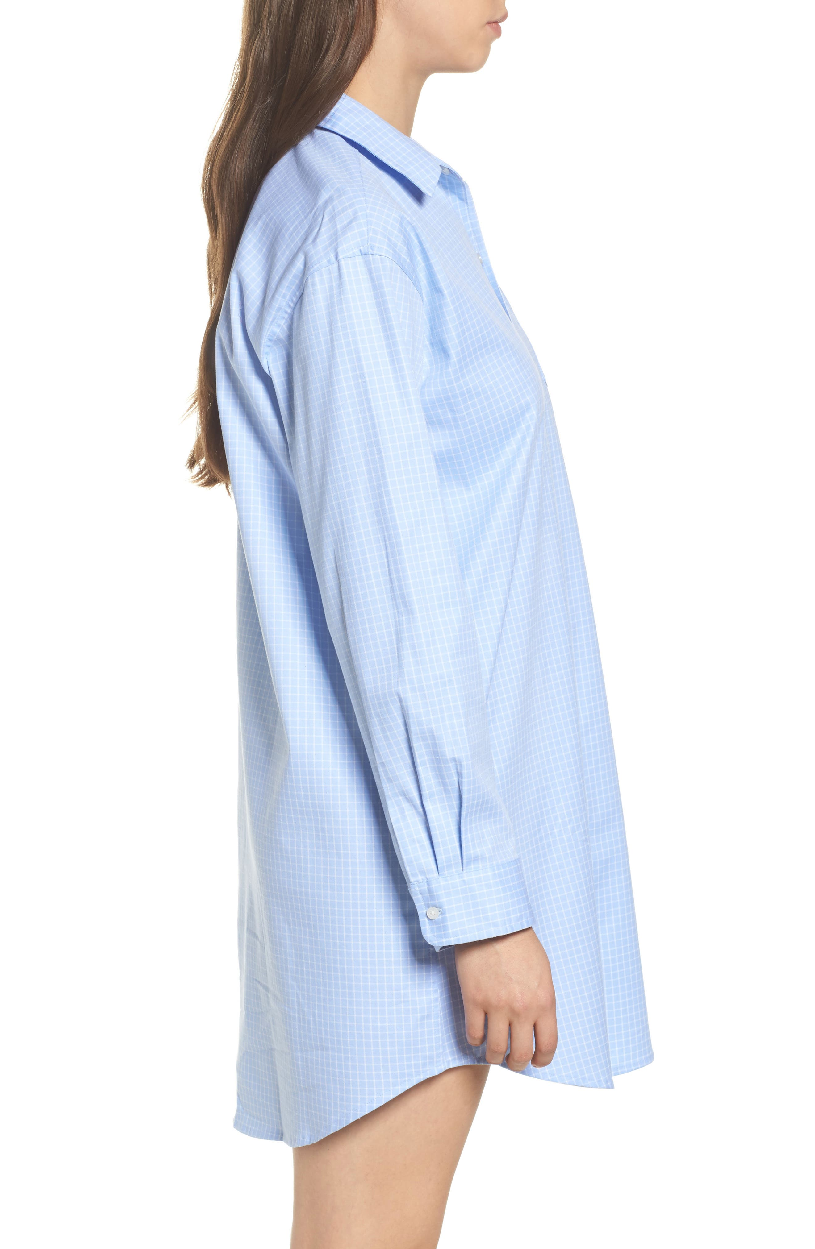 Stretch Cotton Sleep Shirt,                             Alternate thumbnail 3, color,                             494