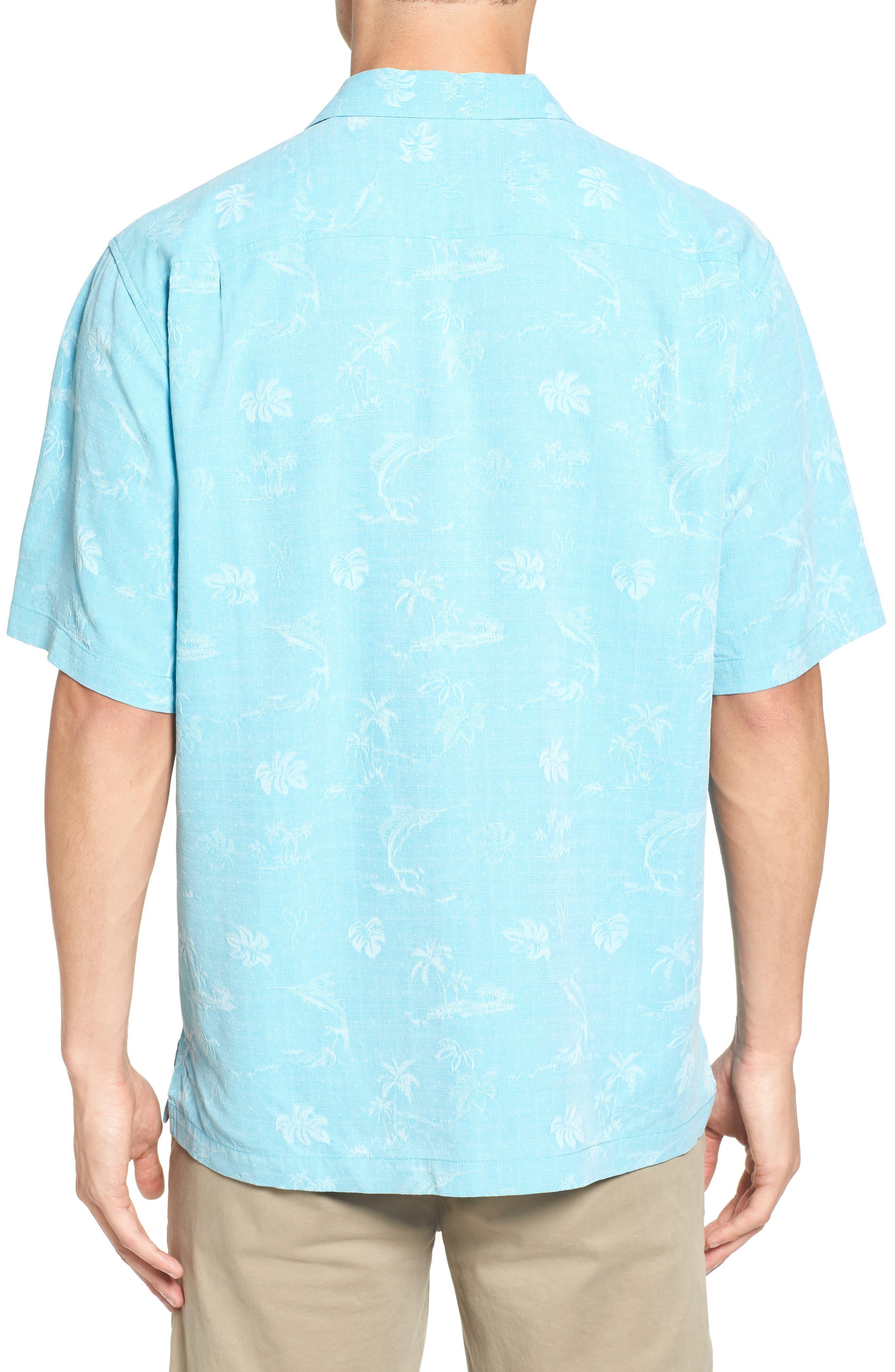 Gulf Shore Marlin Silk Camp Shirt,                             Alternate thumbnail 8, color,