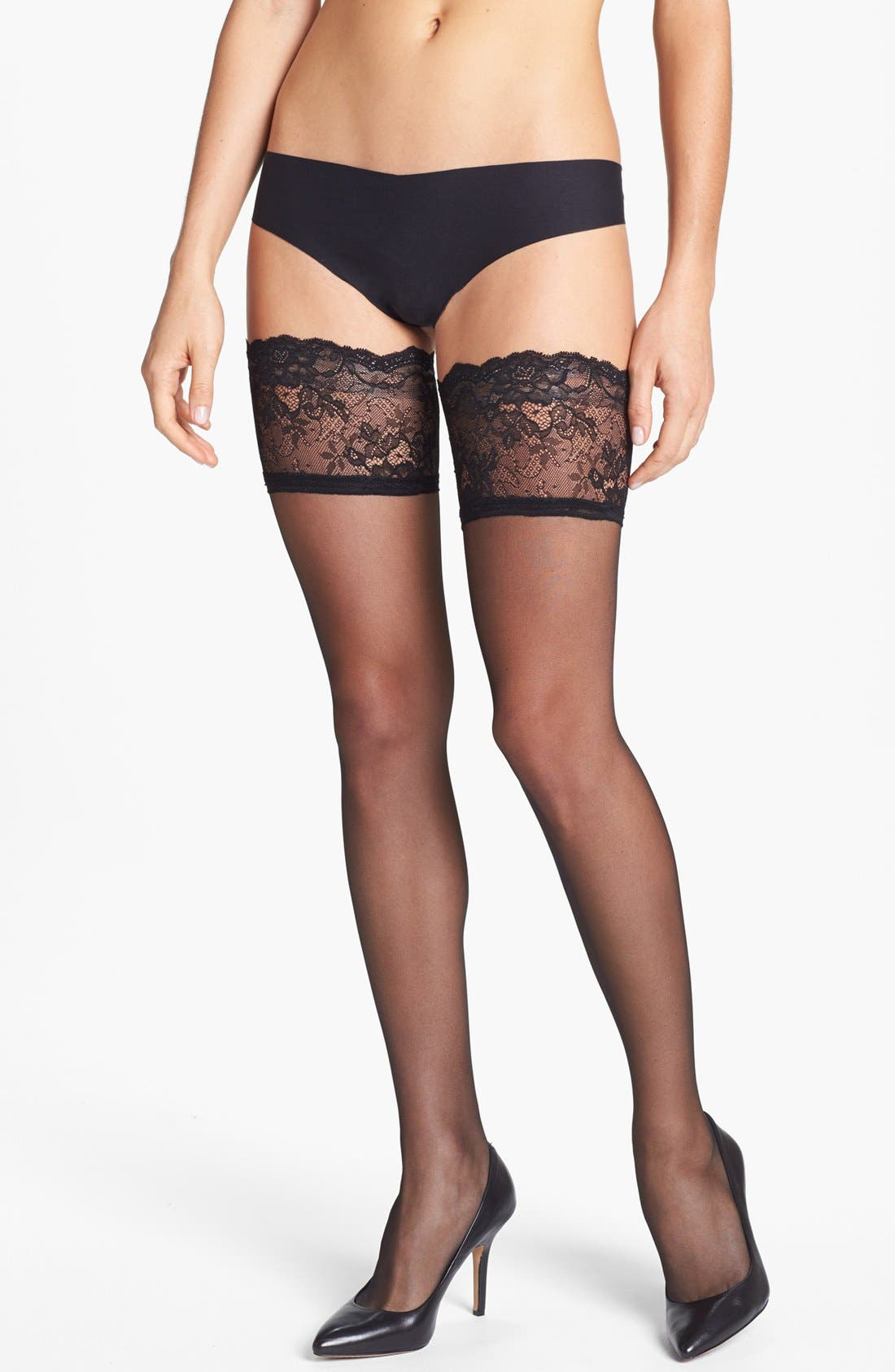Donna Karan Lace Top Stay-Up Stockings,                             Main thumbnail 1, color,                             BLACK