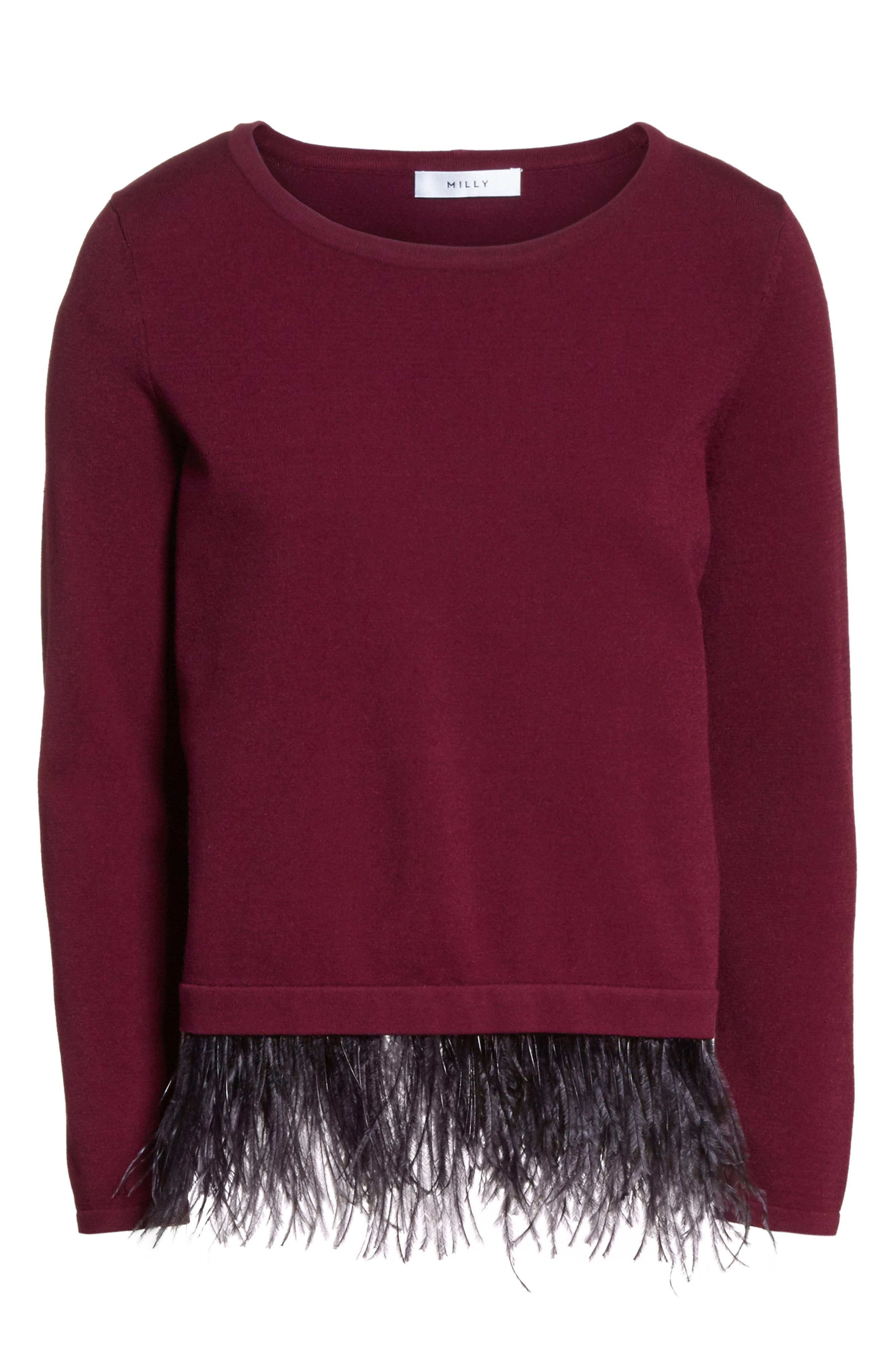 Feather Trim Sweater,                             Alternate thumbnail 6, color,                             931