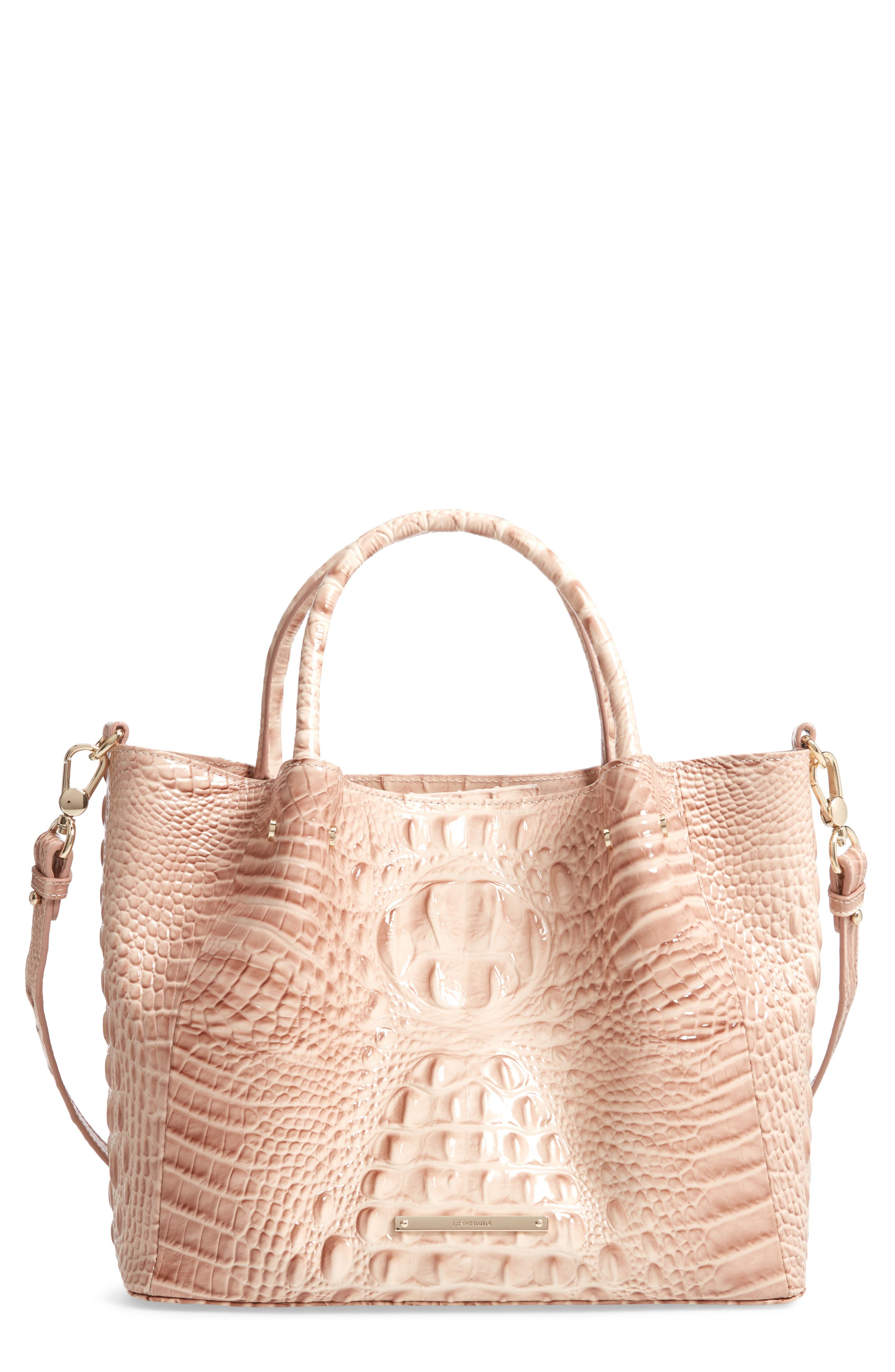 Small Mallory Croc Embossed Leather Satchel,                         Main,                         color, BLOSSOM MELBOURNE