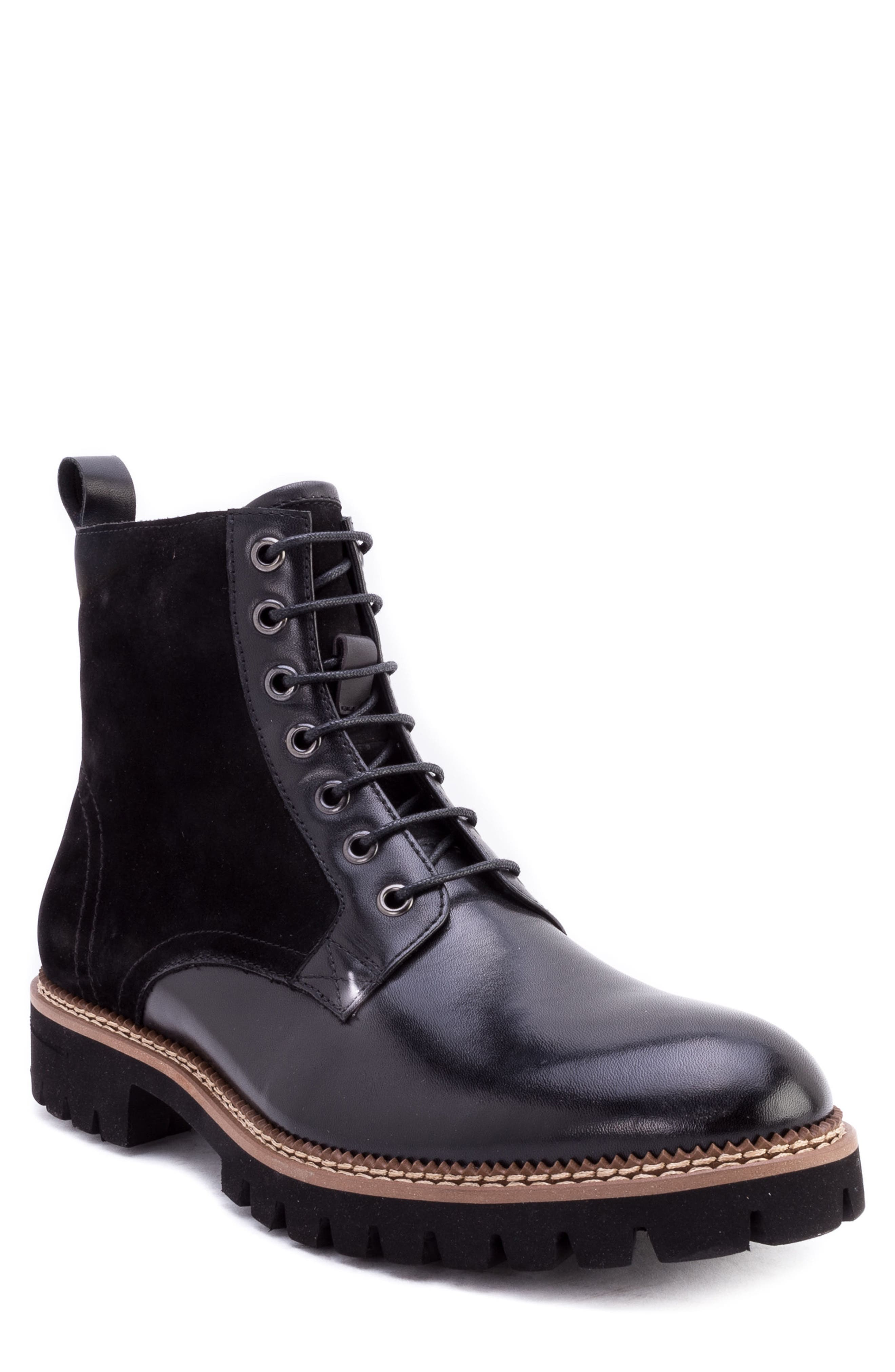 Millet Water Resistant Lugged Boot,                             Main thumbnail 1, color,                             BLACK LEATHER