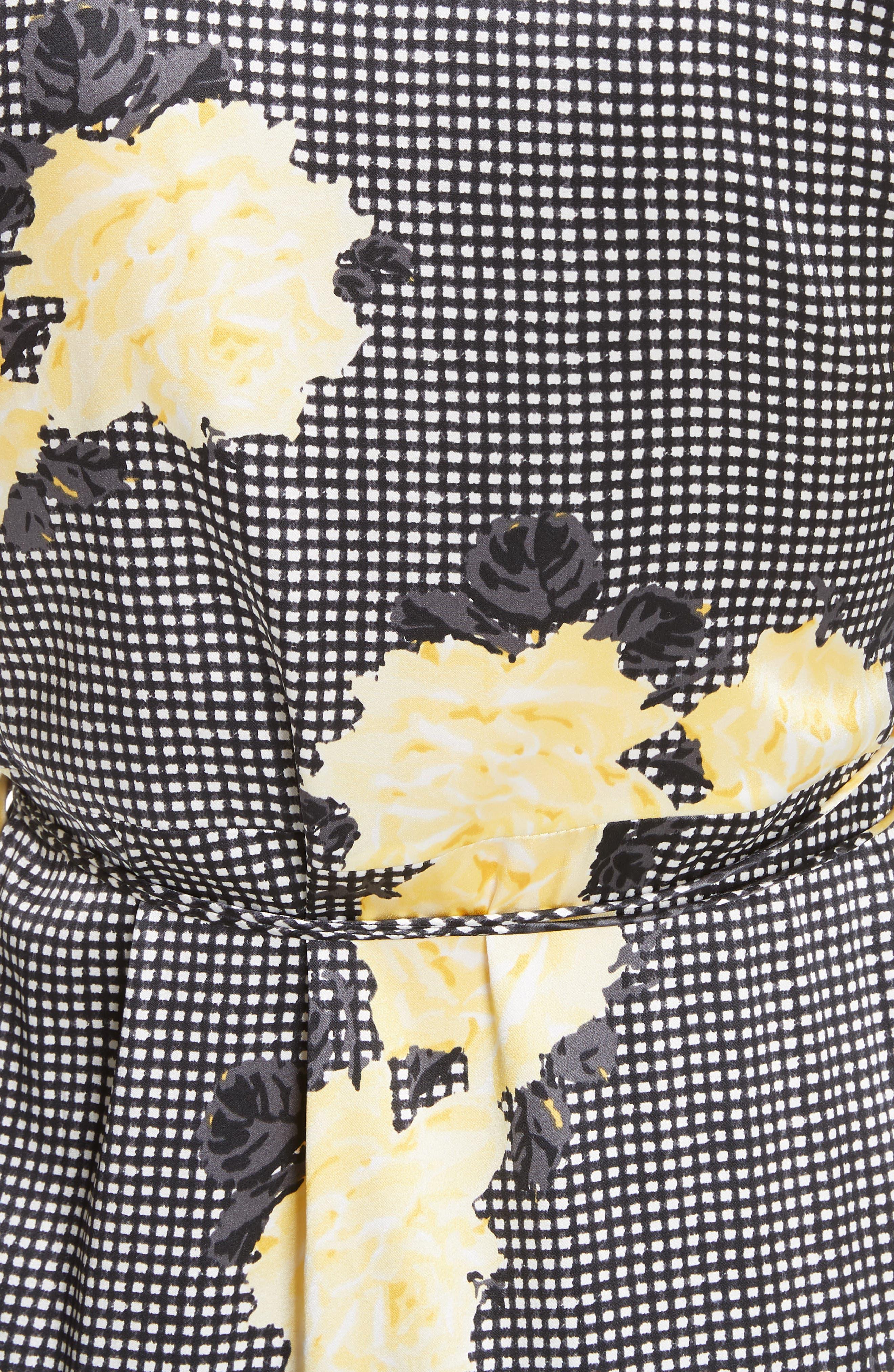 Calla Floral Silk Wrap Dress,                             Alternate thumbnail 5, color,                             BLACK