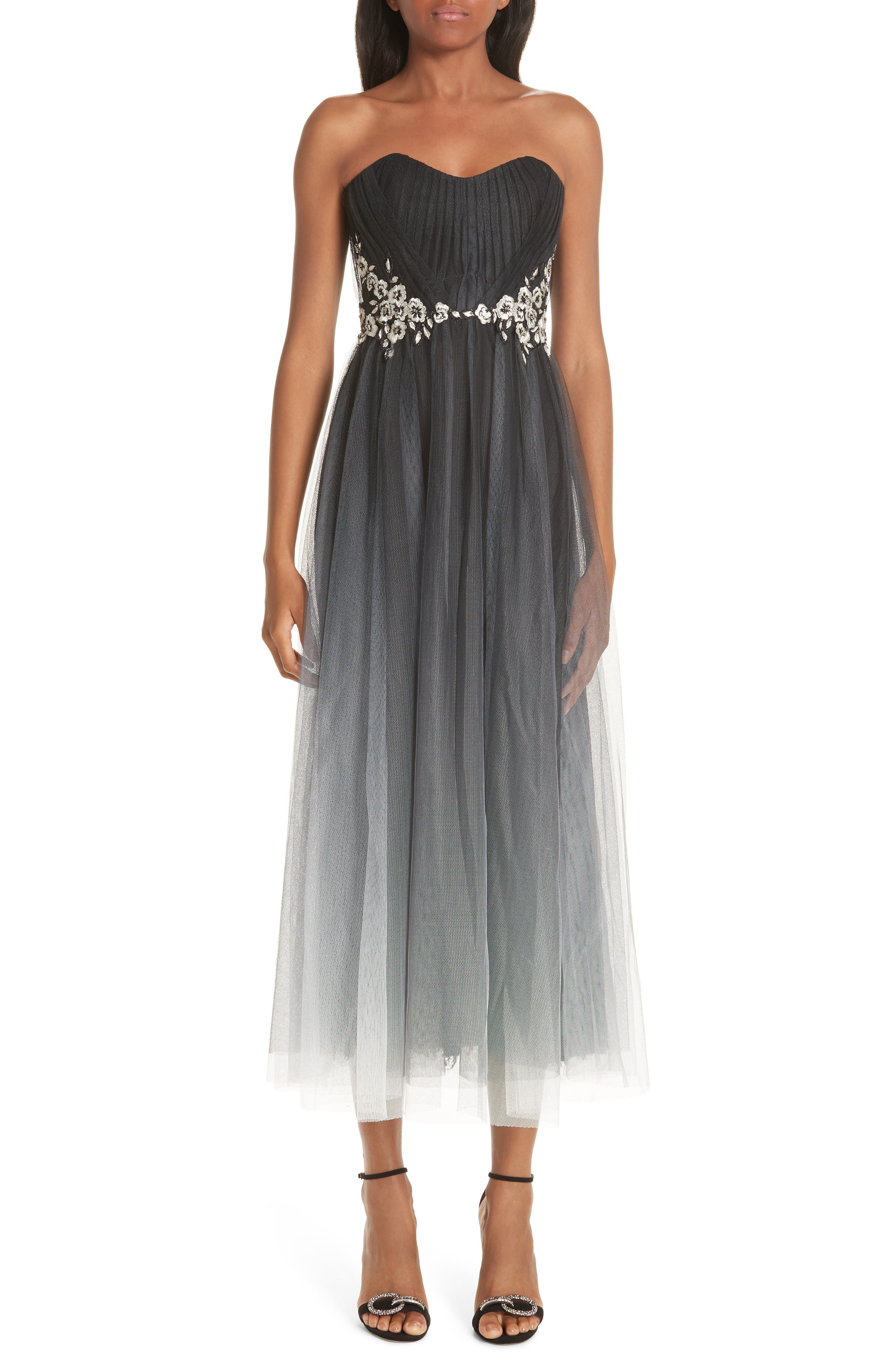Marchesa Notte Strapless Ombre Tulle Tea Length Dress