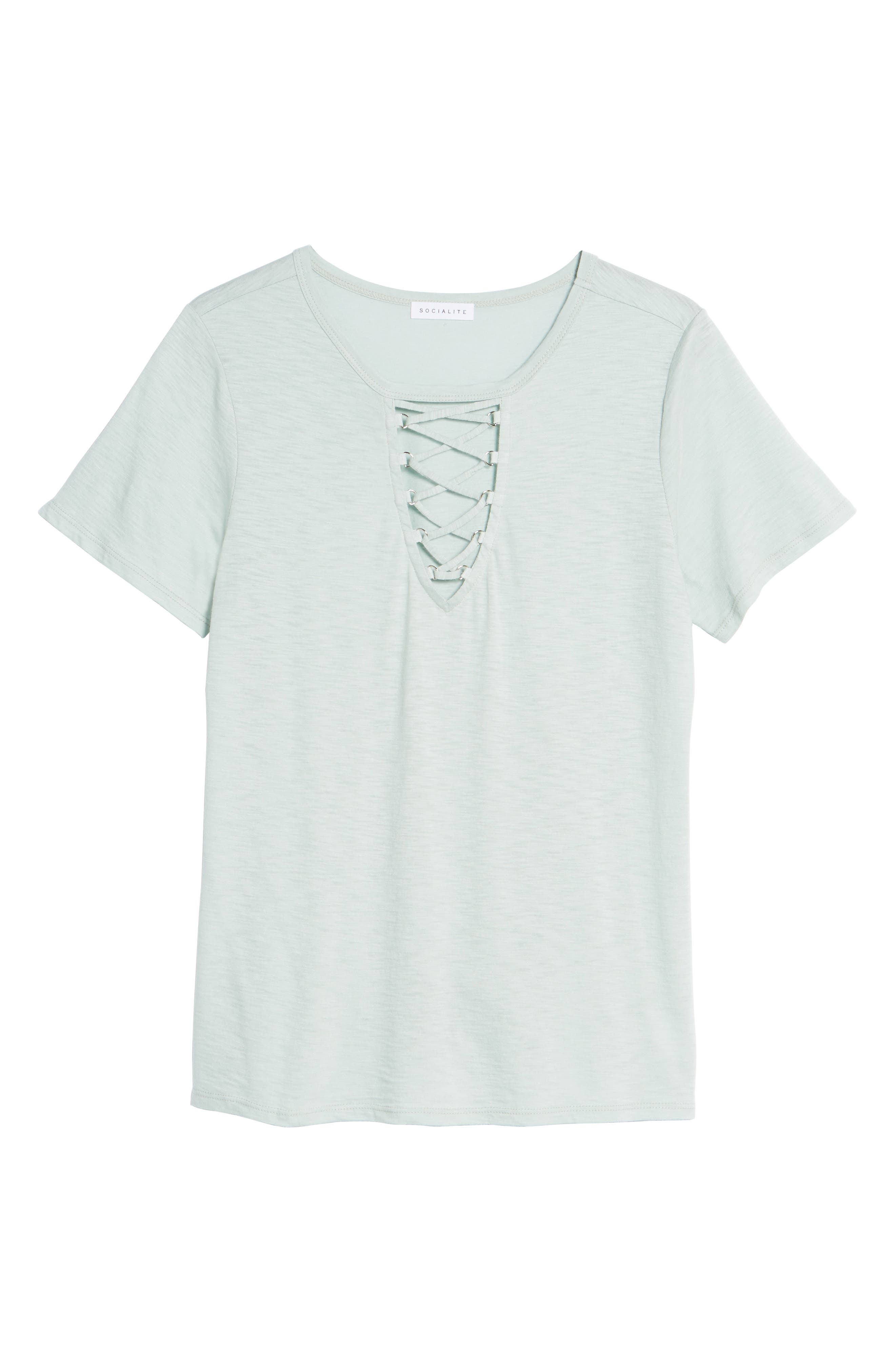 Grommet Lace-Up Tee,                             Alternate thumbnail 6, color,                             340