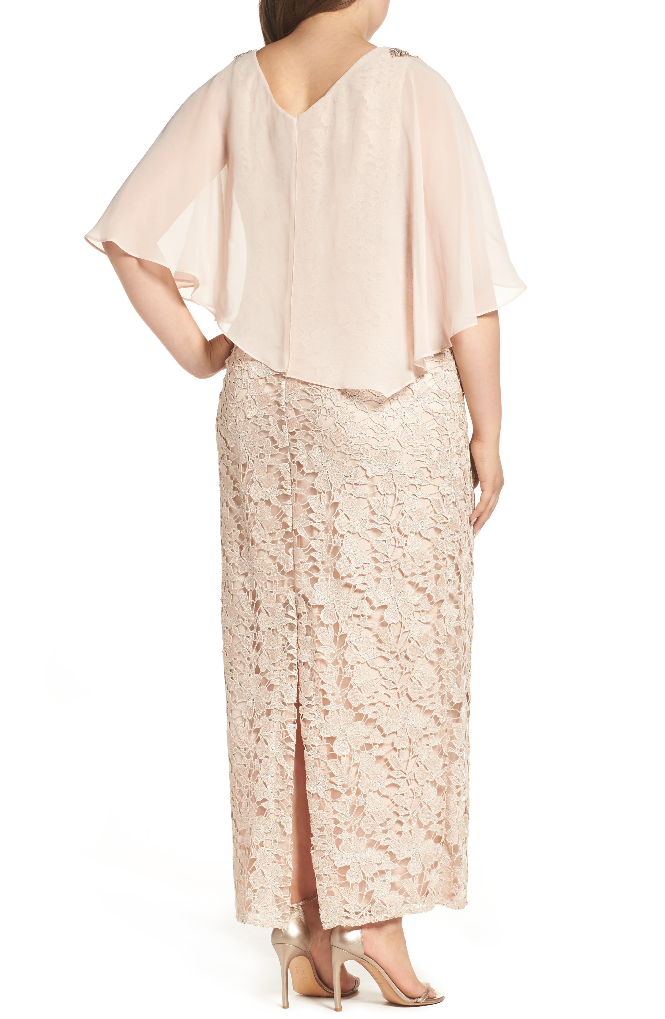 Poncho Over Floral Lace Dress,                             Alternate thumbnail 2, color,                             682