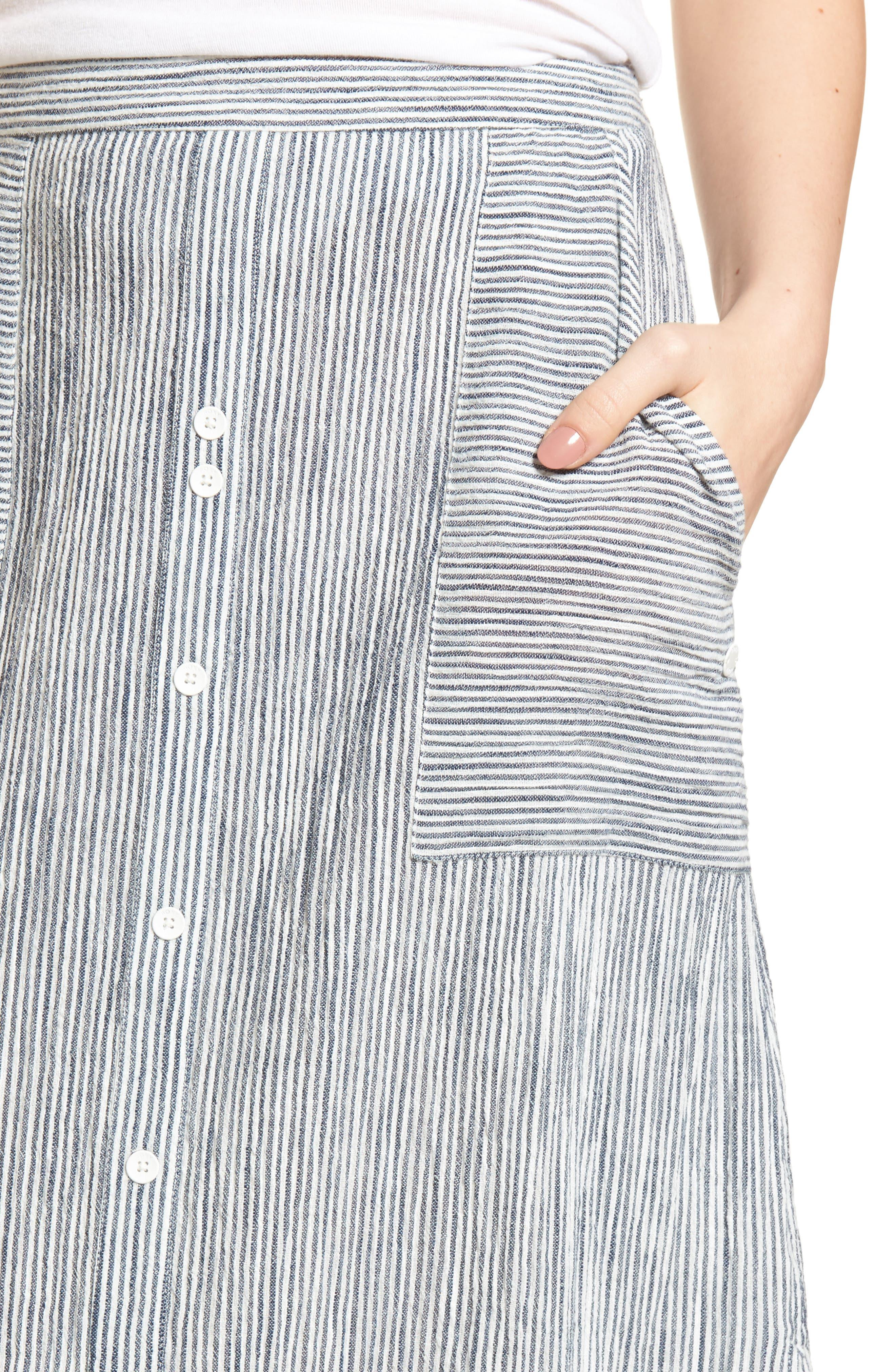 Sunset Islands Pinstripe Maxi Skirt,                             Alternate thumbnail 4, color,                             101