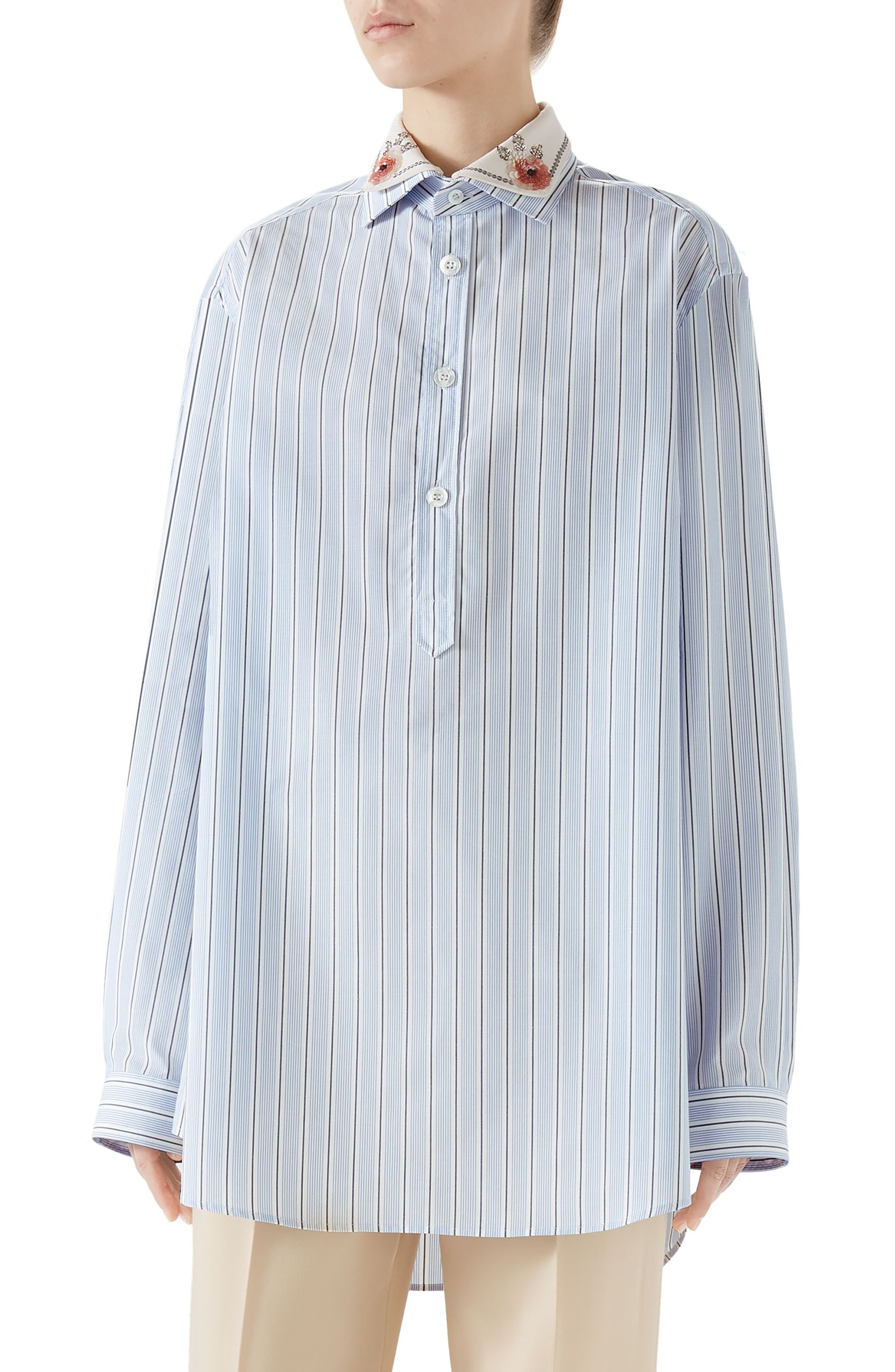 Cotton Poplin Top with Detachable Embroidered Collar, Main, color, BLUE