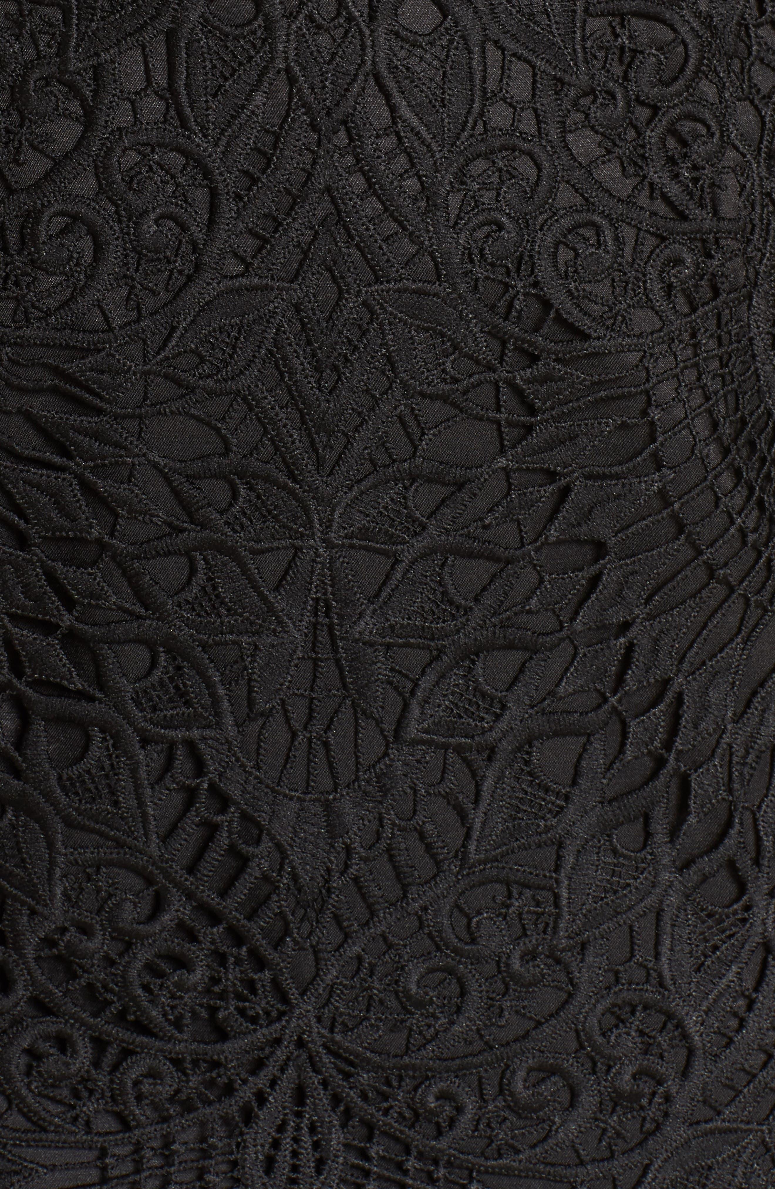Calypso Lace Sheath Dress,                             Alternate thumbnail 6, color,                             BLACK/ NUDE