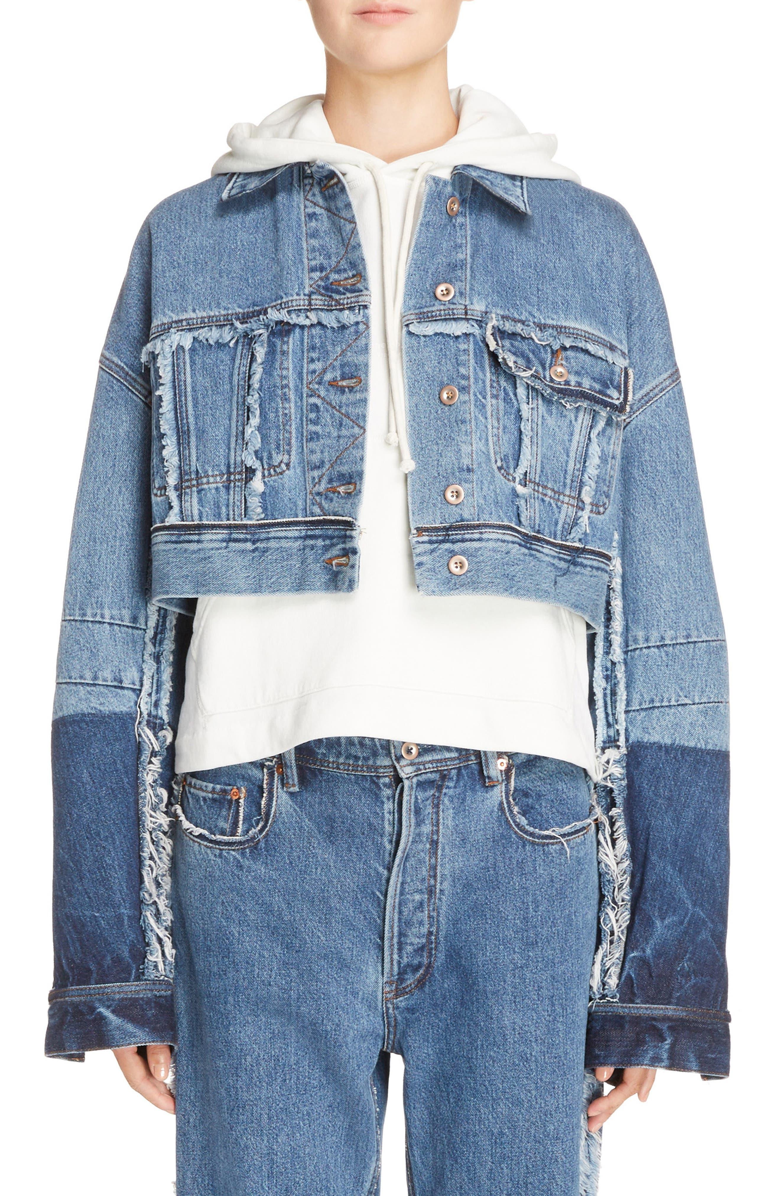 Kremi Crop Denim Jacket,                             Main thumbnail 1, color,                             400