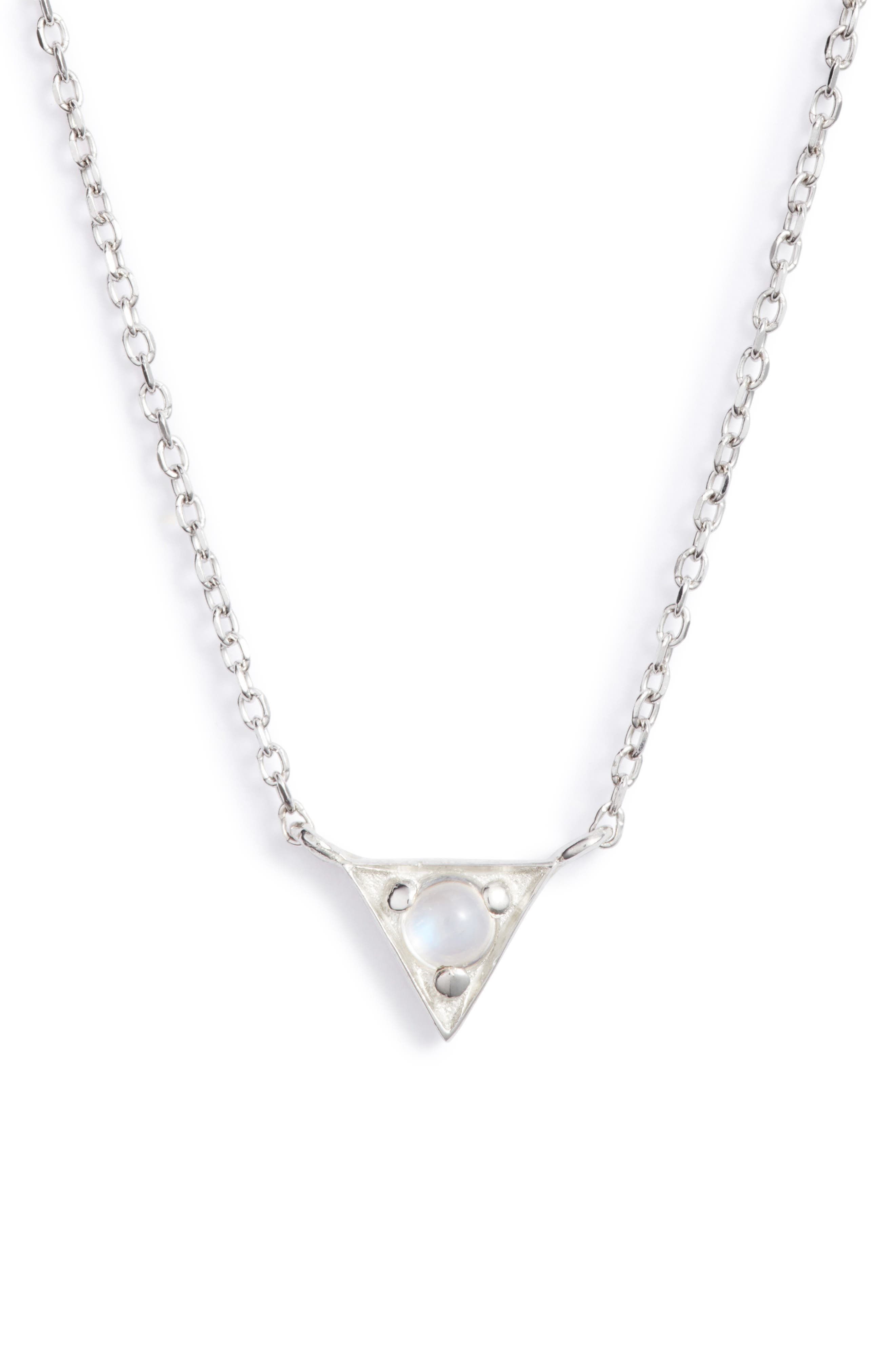 ANZIE Dainty Cleo Moonstone Pendant Necklace in Silver