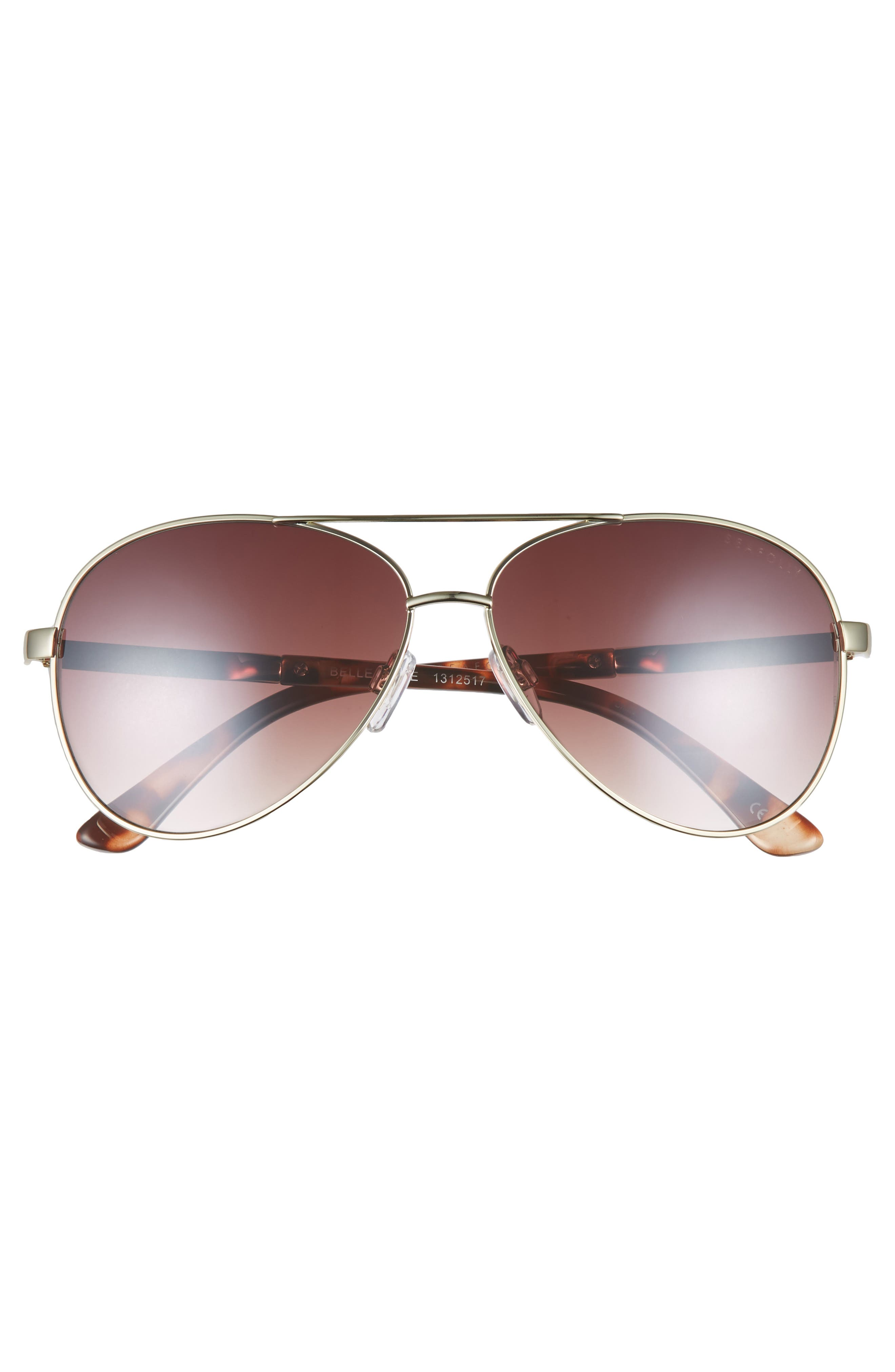 Belle Mare 54mm Aviator Sunglasses,                             Alternate thumbnail 3, color,                             GOLD
