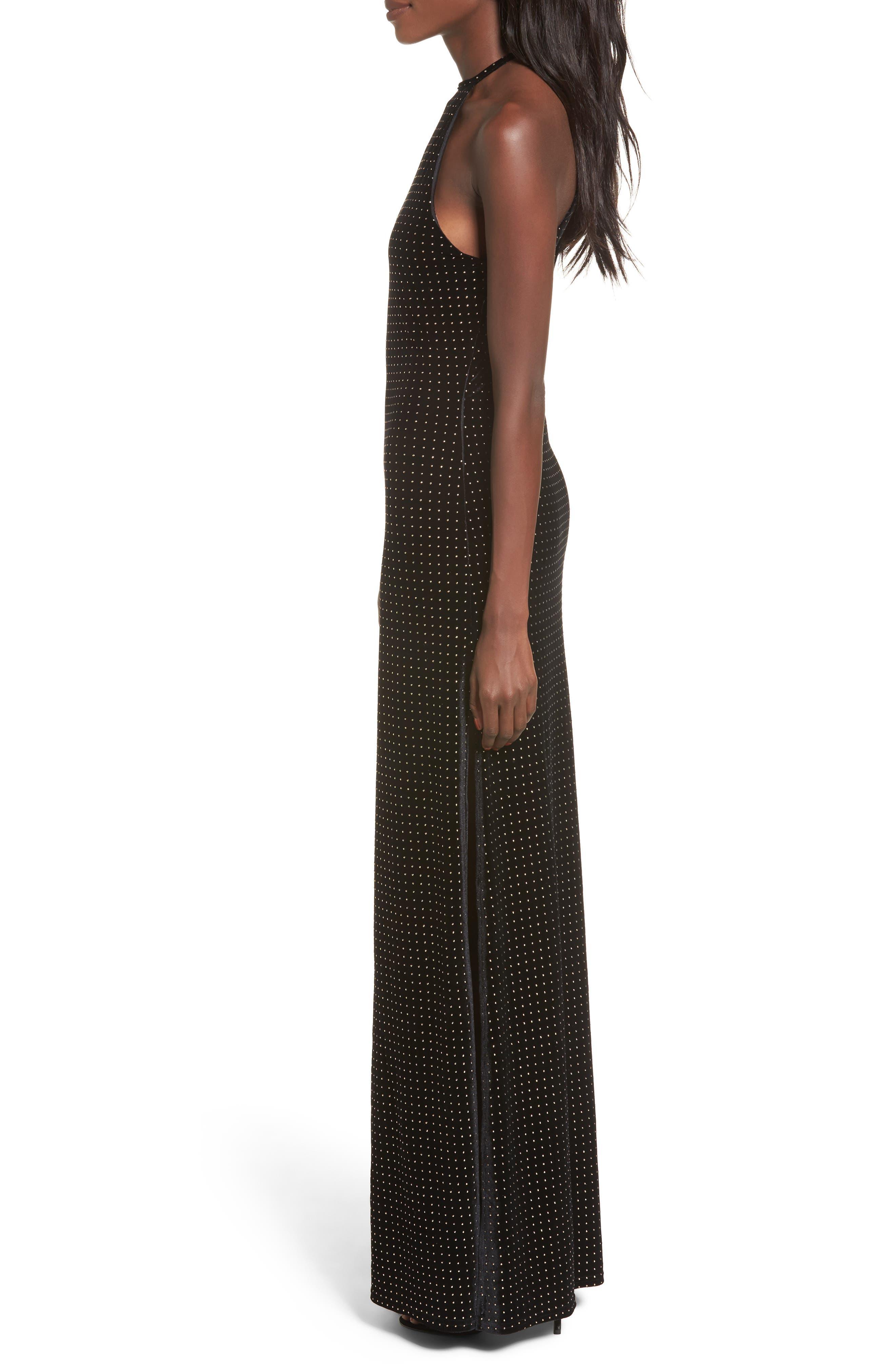 Crenshaw Studded Velvet Gown,                             Alternate thumbnail 3, color,                             002