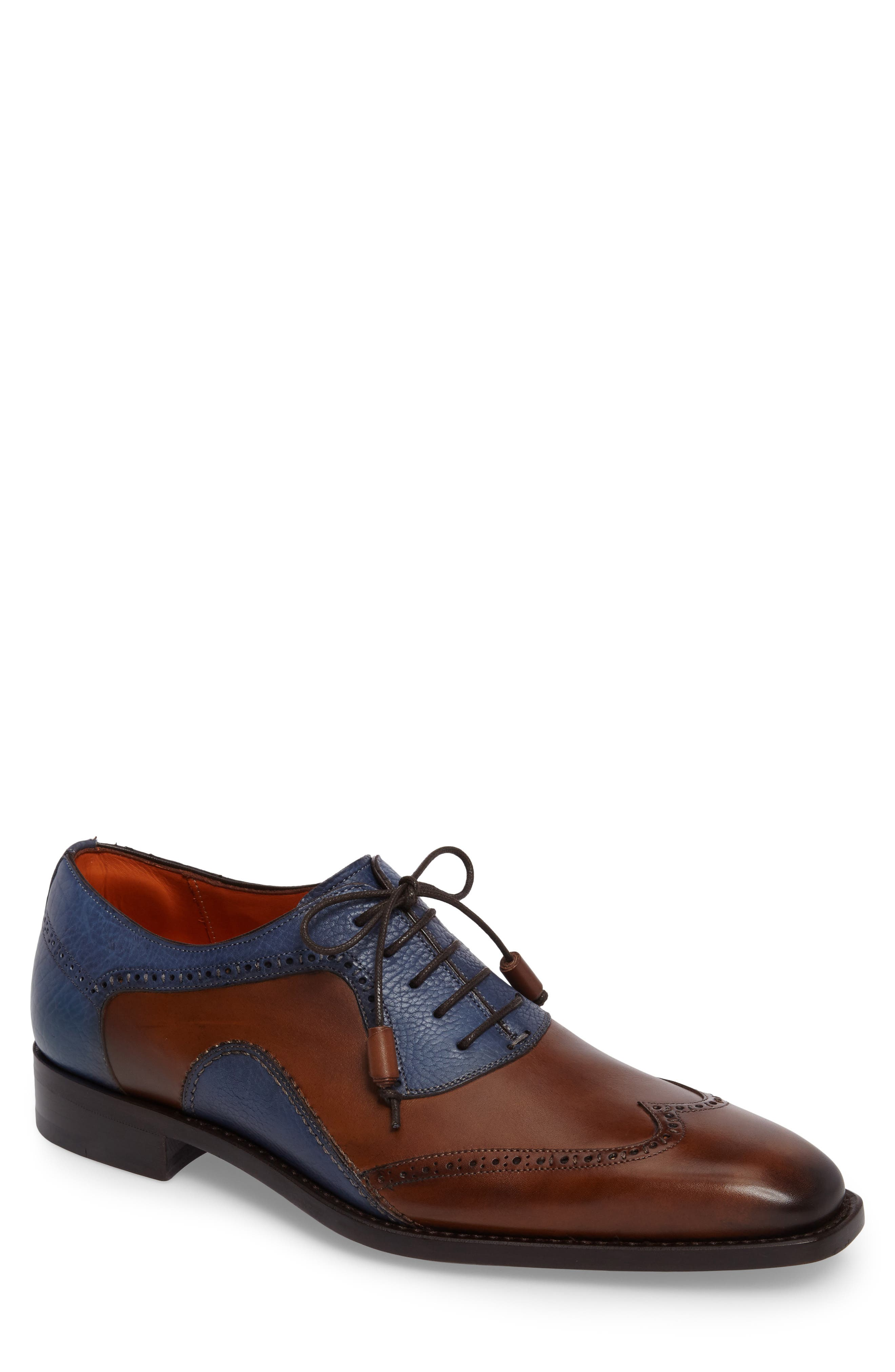 Conil Wingtip,                             Main thumbnail 1, color,                             COGNAC/ BLUE LEATHER