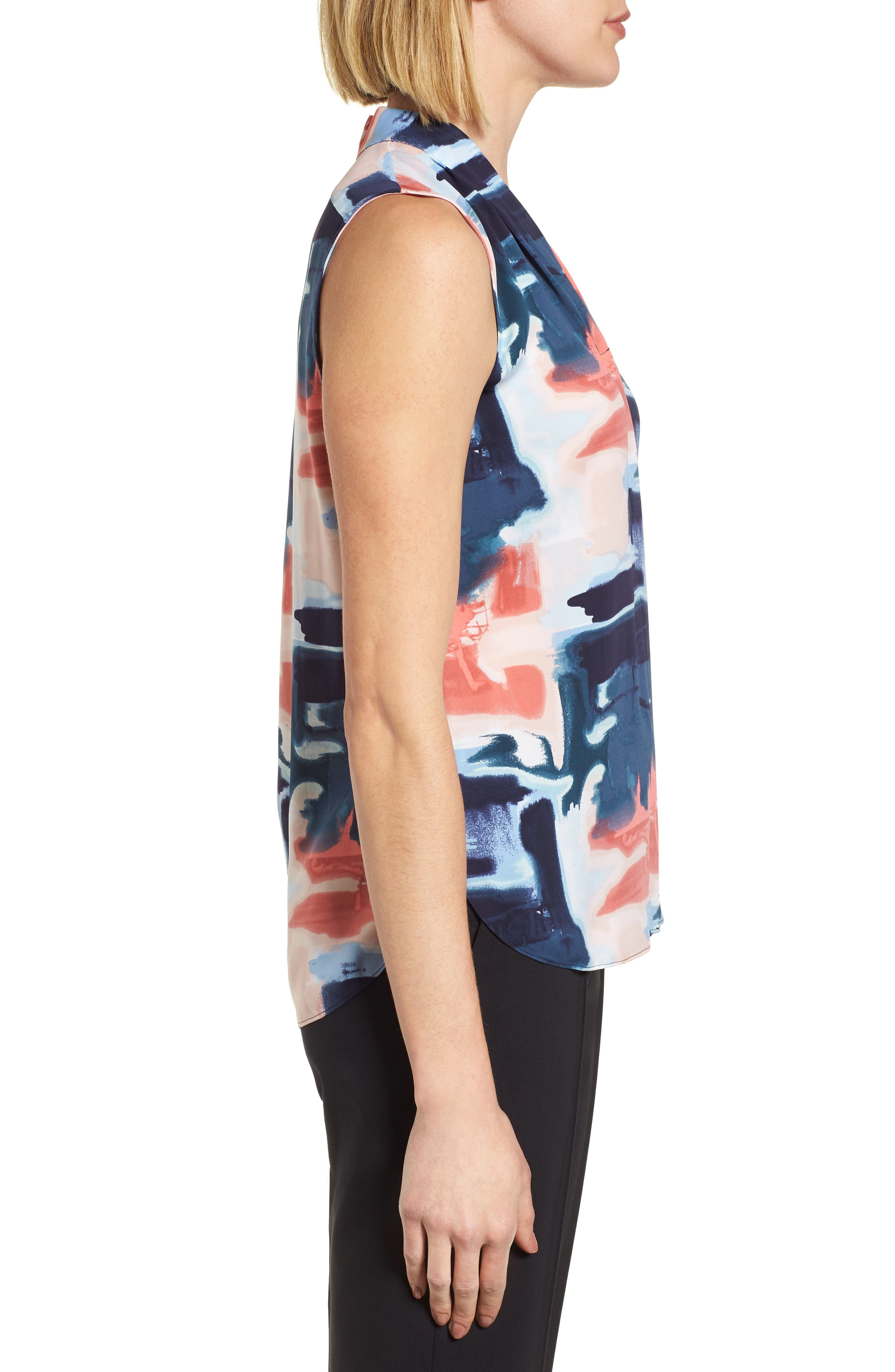 Abstract Print Silk Blend Blouse,                             Alternate thumbnail 10, color,