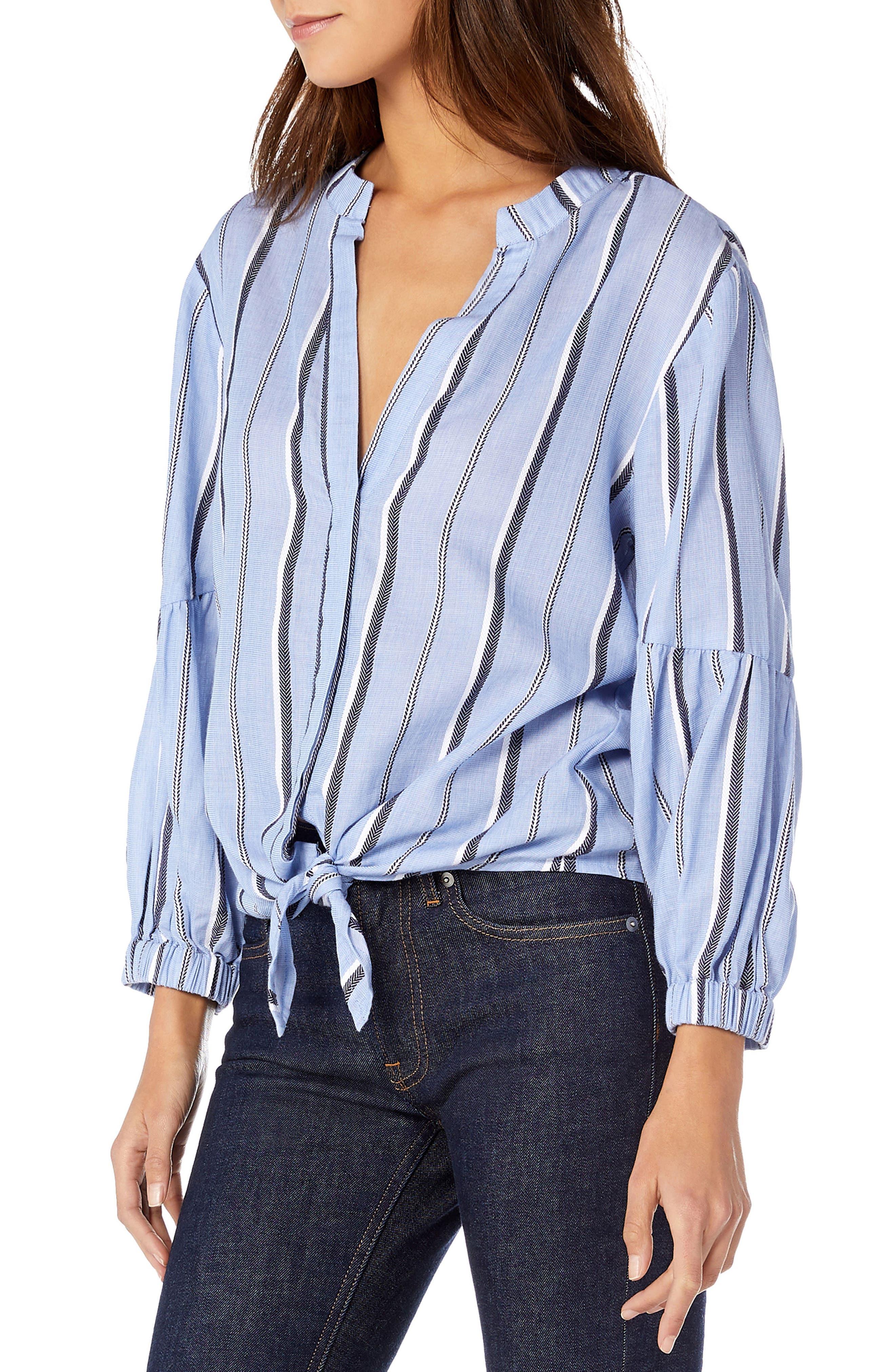 Stripe Shirting Tie Front Cotton Blouse,                             Alternate thumbnail 3, color,                             STREAM