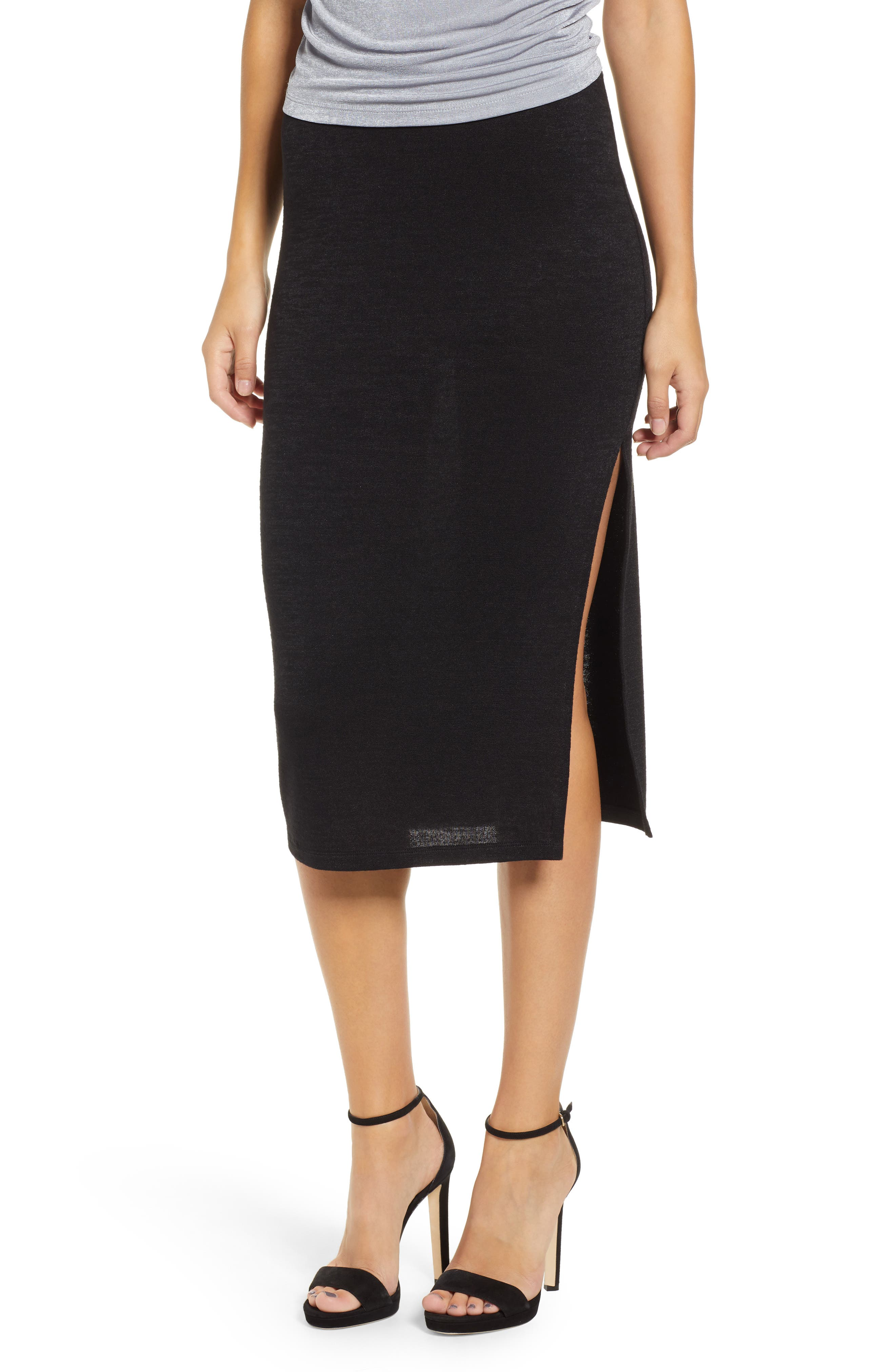 High Slit Marled Midi Skirt,                             Main thumbnail 1, color,                             BLACK