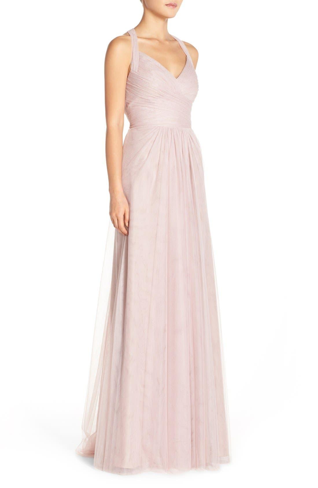 Sleeveless V-Neck Tulle Gown,                             Alternate thumbnail 8, color,