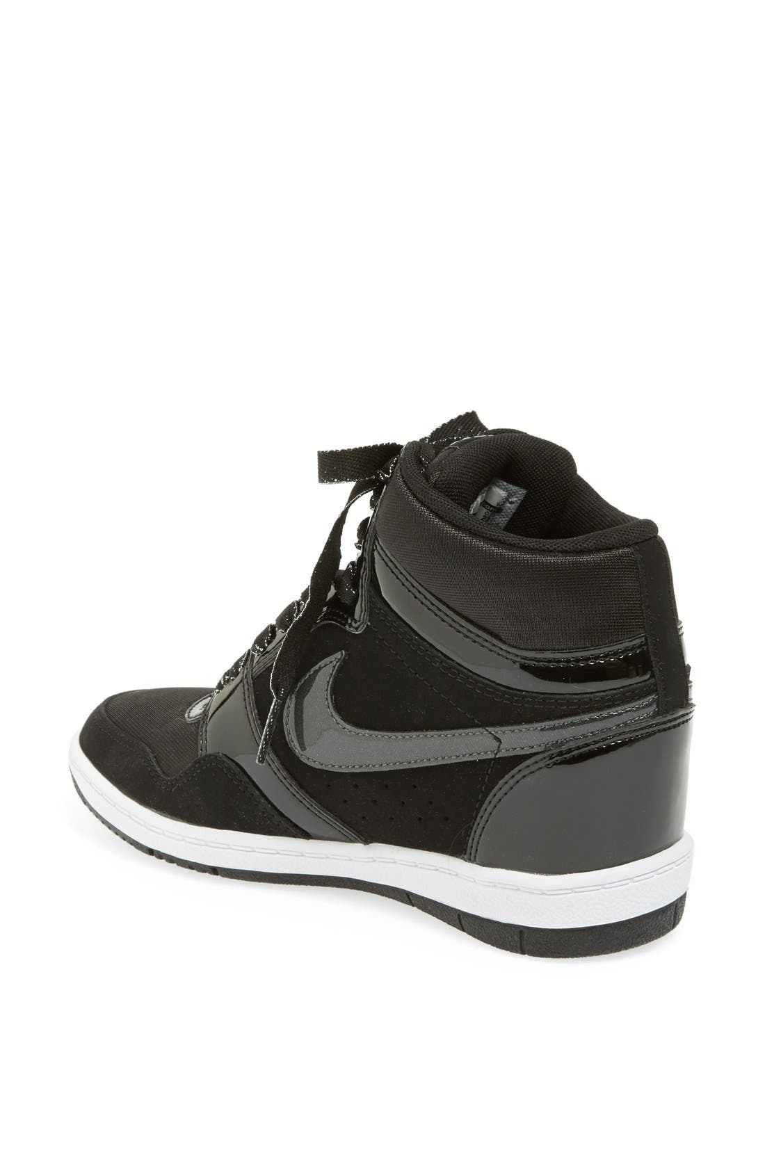 'Force Sky Hi' Wedge Sneaker,                             Alternate thumbnail 3, color,                             001