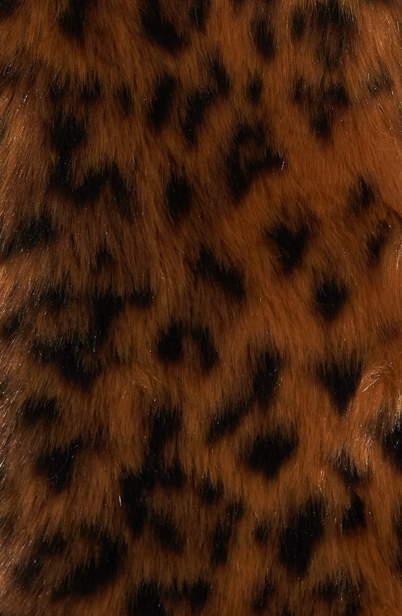 Leopard Print Faux Fur Coat,                             Alternate thumbnail 7, color,                             LEOPARD