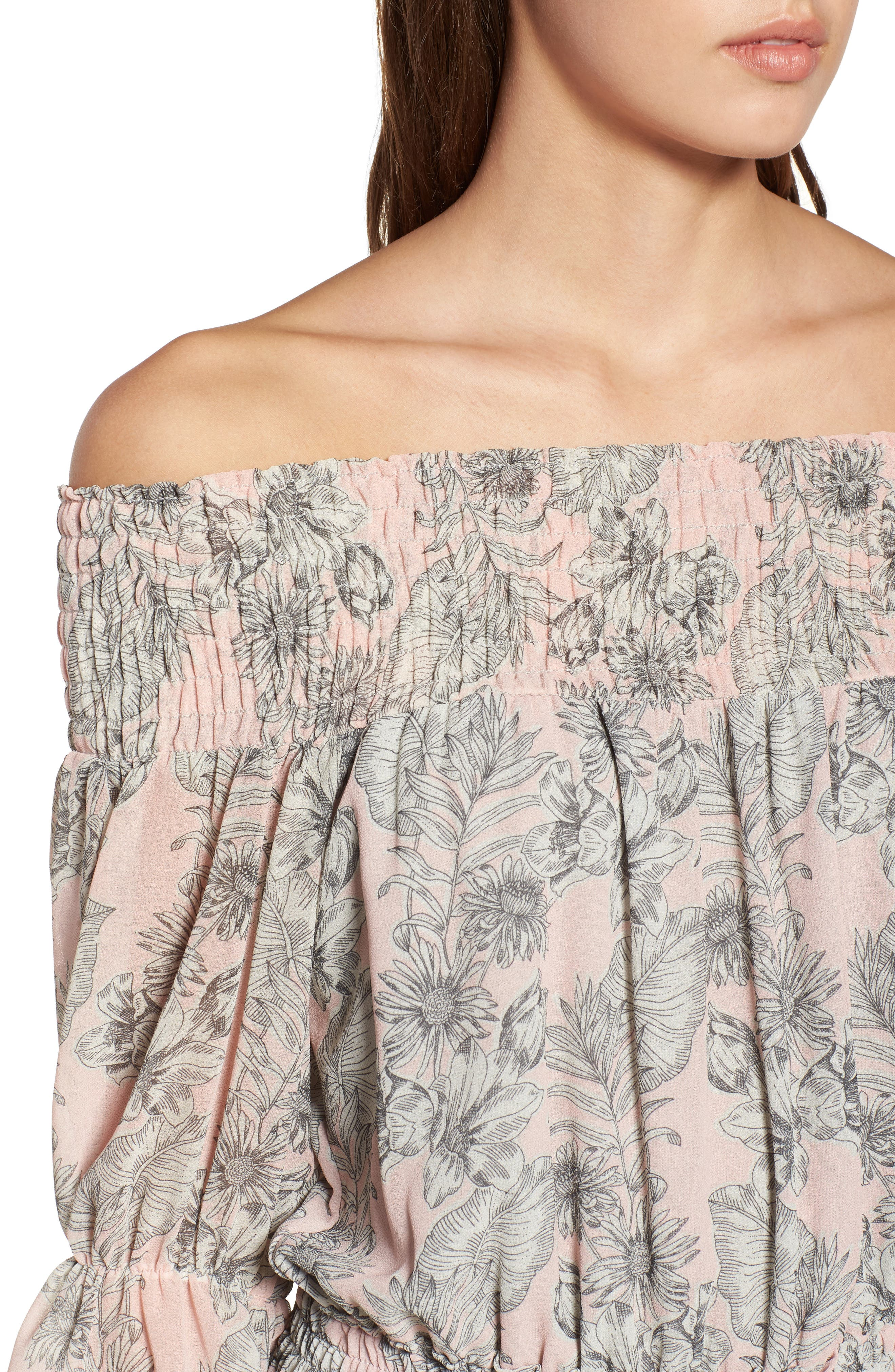 MISA LOS ANGELES,                             Geroux Off the Shoulder Blouson Dress,                             Alternate thumbnail 4, color,                             650