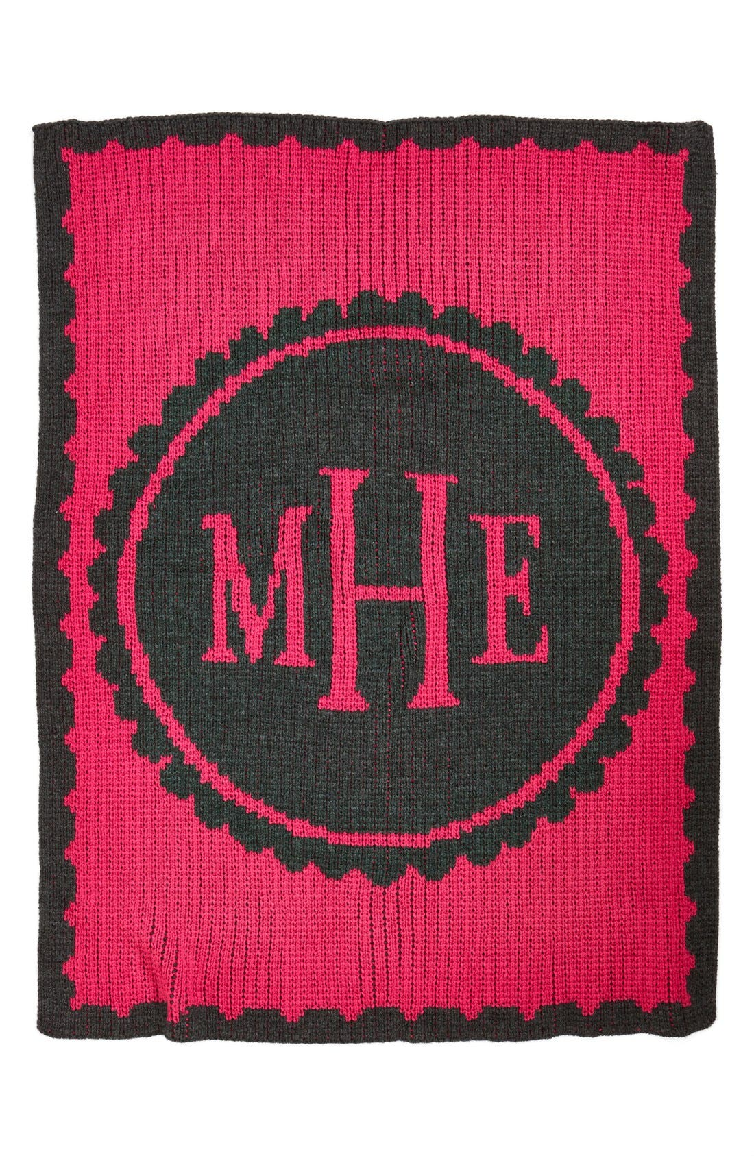 'Scalloped - Small' Personalized Blanket,                         Main,                         color, CHARCOAL GREY/ FUSCHIA