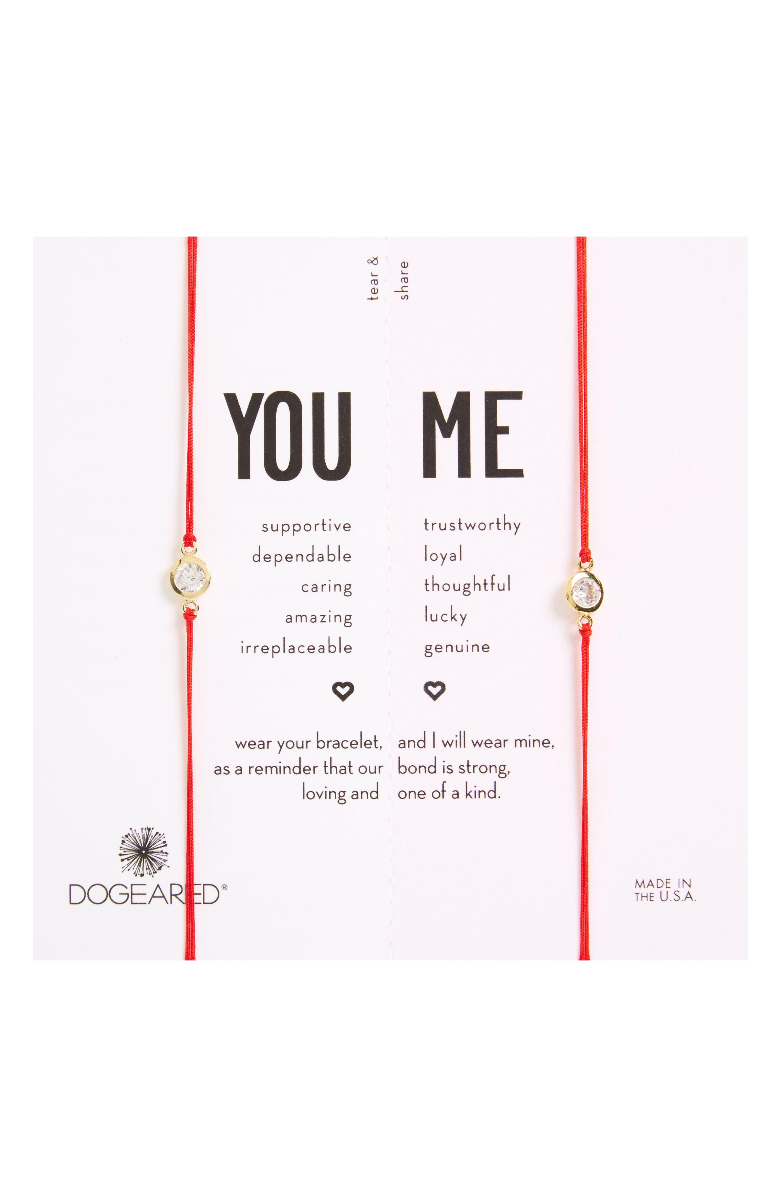You & Me Set of 2 Crystal Charm Friendship Bracelets,                             Main thumbnail 1, color,                             600