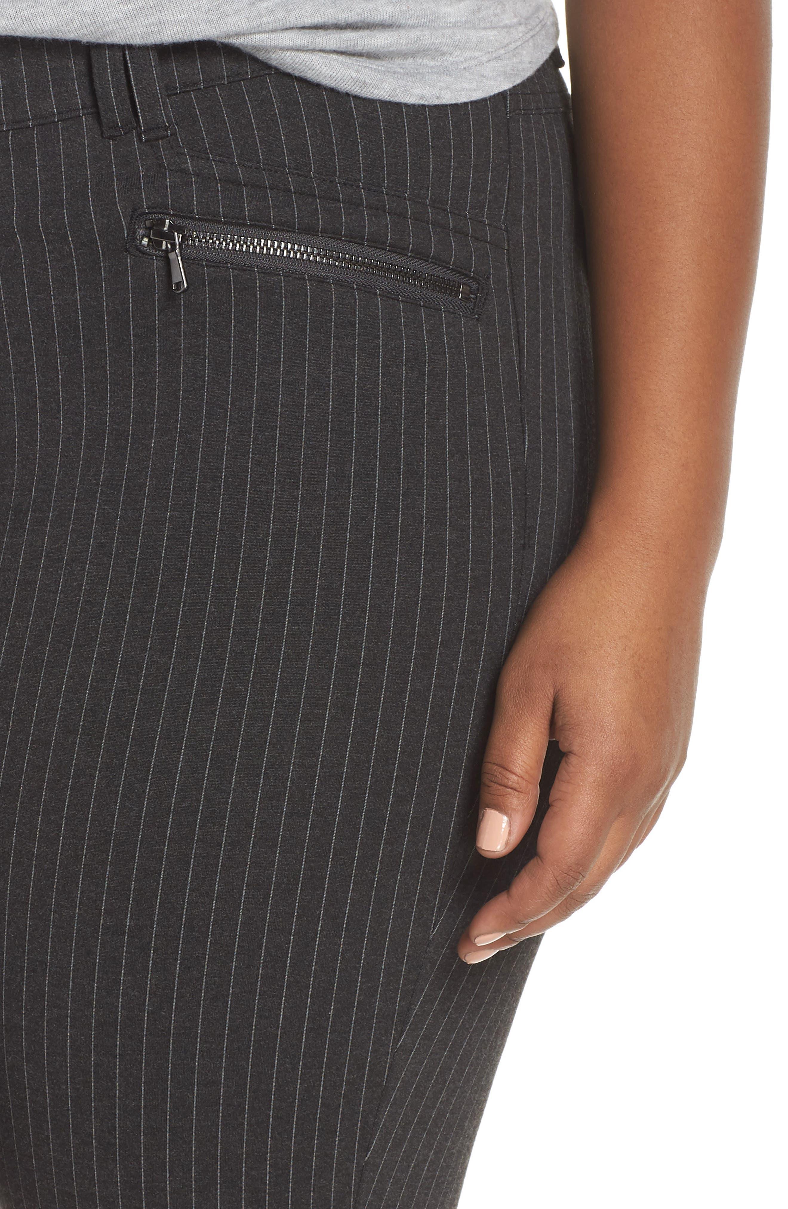 Ab-Solution Skinny Ponte Pants,                             Alternate thumbnail 11, color,                             CHARCOAL PIN STRIPE